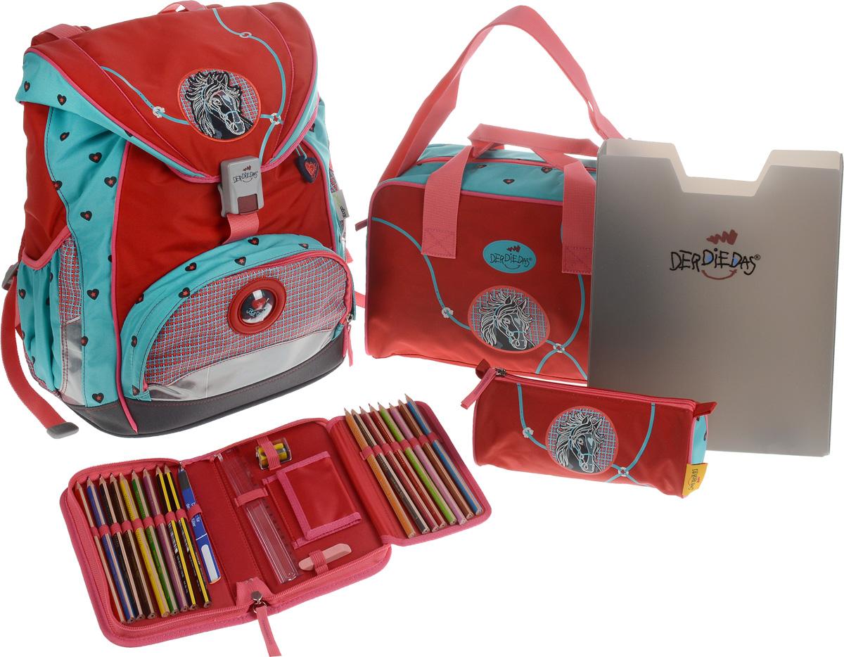 DerDieDas Ранец школьный Бэл Ами с наполнением 5 предметов цвет красный зеленый000405-01Школьные ранцы DerDieDas - немецкий стандарт качества товаров для учеников. Ранец состоит из одного вместительного отделения, которое закрывается на шнурок и клапан с удобным пластиковым замком. Внутри ранец имеет сквозную перегородку для тетрадей, или учебников и прозрачный пластиковый кармашек для визитки с личными данными владельца на текстильном шнурке. Снаружи рюкзак декорирован объемными элементами и вышивкой. Лицевая часть дополнена накладным карманом на застежке-молнии. По бокам расположены два открытых кармана на резинке, имеются светоотражающие вставки. Рюкзак дополнен оригинальным брелоком. Ранец имеет ортопедическую спинку со специальными мягкими подушечками и специальные прорези, которые позволяют изменять расположение лямок на спинке ранца (поднимать или опускать их) в зависимости от роста ребенка. Ранец укомплектован ремнями: нагрудным и поясным. Впитывающий влагу и пропускающий воздух материал на спинке и внутренней стороне лямок позволяет спине дышать. Полиэстер повышенной прочности не подвержен истиранию и не рвется, ранец отлично моется как снаружи, так и внутри, а яркие не выцветающие краски гипоаллергенны. Изделие имеет водонепроницаемую внутреннюю поверхность и пластиковое покрытие, которое защищает дно ранца от влаги и загрязнений. Ранец поставляется в комплекте со спортивной сумкой, пеналом с наполнением, пеналом без наполнения и папкой-боксом, выполненными в одном дизайне. Папка-бокс, изготовленная из пластика, удобна и долговечна. Размер папки: 31х 24,5х5. Спортивная сумка, закрывается на молнию, имеет одно отделение с карманом на липучке. Дополнена удобными ручками и регулируемым наплечным ремнем. Размер сумки: 34х22х11см. Пенал с наполнением, на молнии, с дополнительным клапаном для карандашей и кармашком для денег на липучке. Содержание пенала: 17 цветных карандашей, ластик. Линейка, точилка. Размер пенала: 20х11,5х3 см. Пенал без наполнения, с одним 