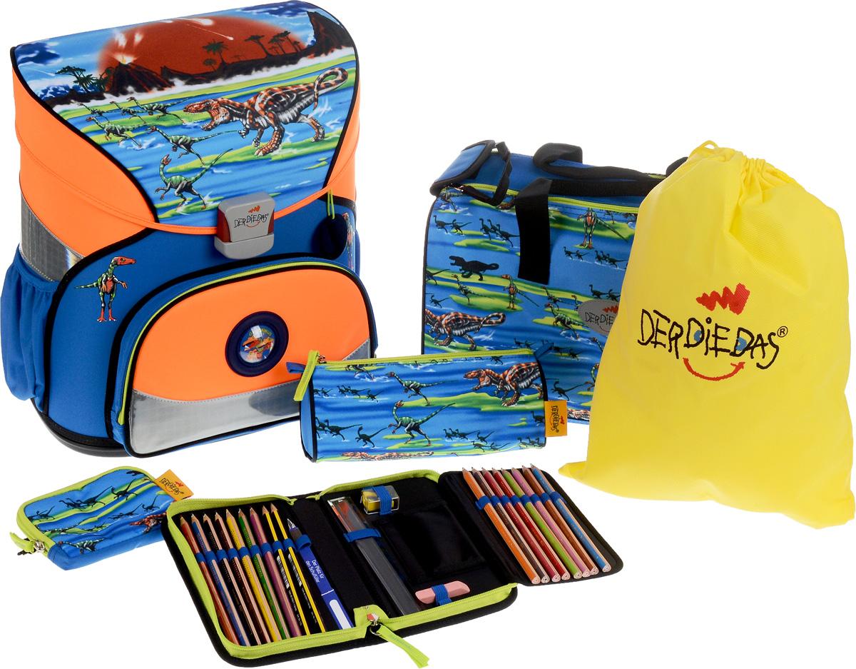 DerDieDas Ранец школьный Бегущие дино с наполнением цвет синий оранжевый 4 предмета рюкзаки derdiedas ранец ddd exklusiv led ergoflex с наполнением лучший футболист