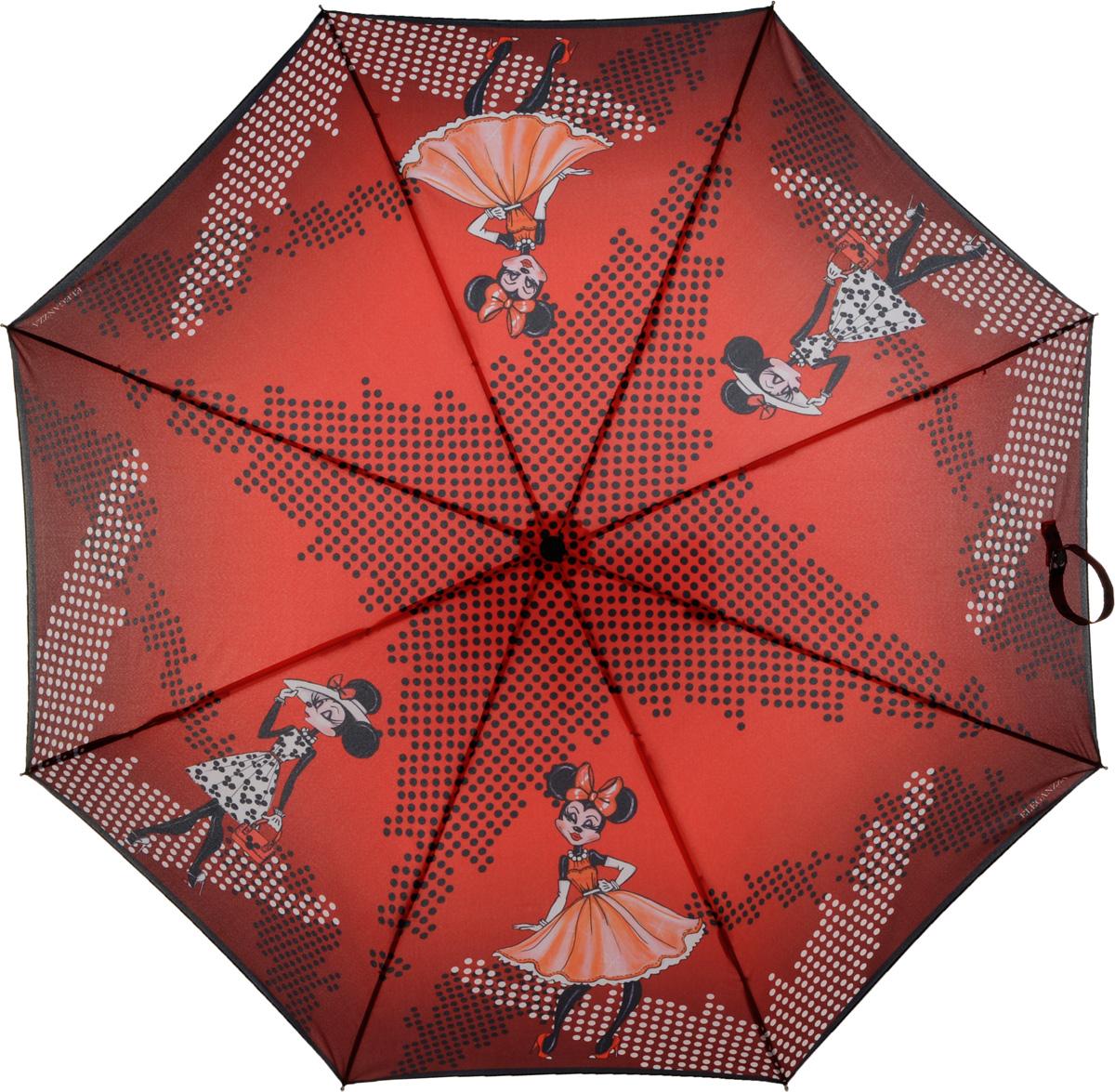 Зонт женский Eleganzza, автомат, 3 сложения, цвет: красный. A3-05-0283S