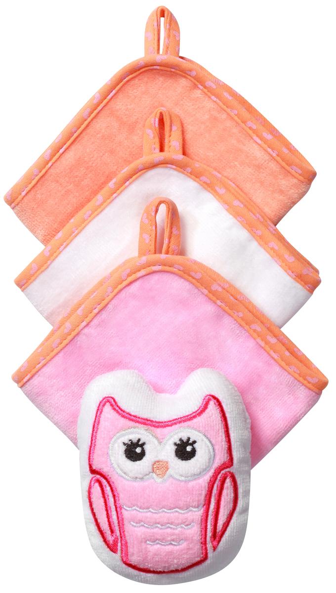 BabyOno Набор для купания Сова143 owlНабор для купания BabyOno Сова включает в себя 3 моющие рукавиц велюр и губку в виде зверюшки. Такой набор будет незаменим уже с первого купания. Идеален для купания ребёнка, а также для ежедневного ухода, в том числе для мытья рук и лица в течение дня.Набор изготовлен из высококачественного пушистого 100% хлопка, благодаря чему не раздражает нежную кожу ребёнка.