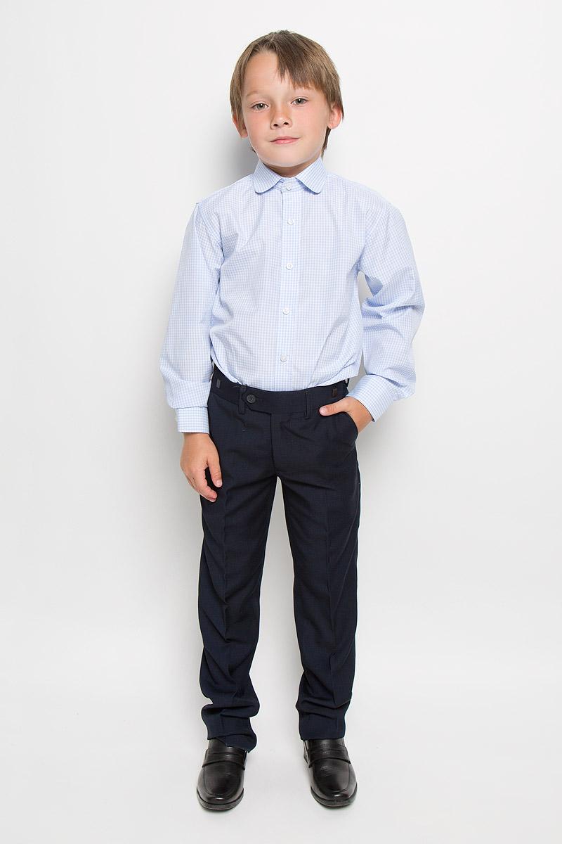 Рубашка для мальчика Imperator, цвет: голубой, белый. Graf 37. Размер 35/152-158 брюки для мальчика imperator цвет темно коричневый 26303 размер 42 164 15 16 лет