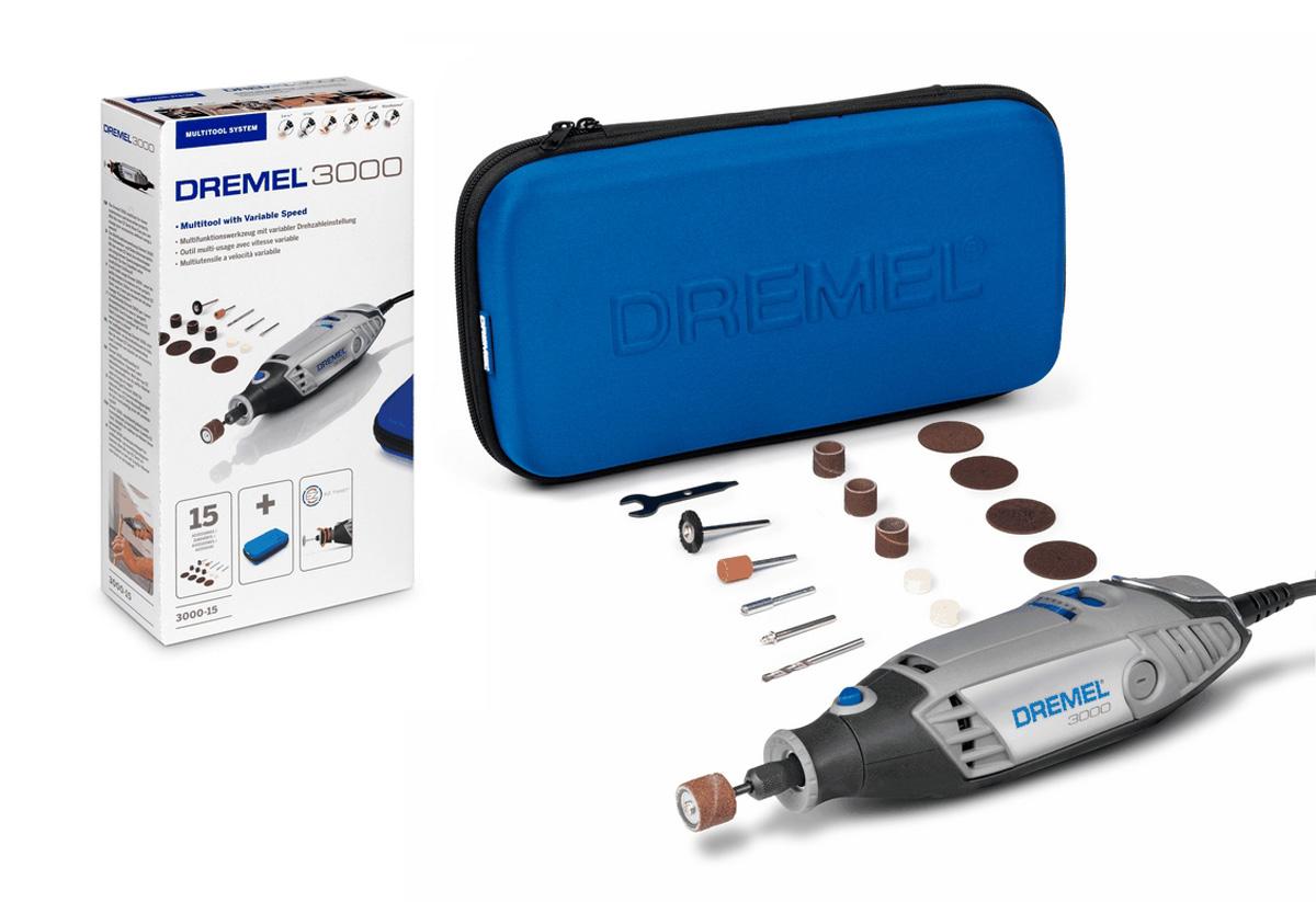 Набор Dremel 3000 - 1/15 JL, 18 предметовF0133000JLВ набор входит многофункциональный инструмент Dremel 3000 и 15 оригинальных насадок Dremel, все хранится в удобной сумке. Это базовый вариант исполнения: Dremel 3000 дополняется определенным набором принадлежностей. Этот инструмент обеспечивает пользователю удобный захват благодаря легкому корпусу. Используйте насадки Dremel для декоративных работ: гравировки цветочных горшков, создания драгоценных украшений, переделки мебели, а также работ с деревом. Регулируемая скорость 10 000-33 000 об/мин гарантирует комфортную работу и лучший контроль при ведении инструмента. Цанговый зажим обеспечивает легкую смену насадок, а благодаря инновационному наконечнику EZ Twist, теперь для смены насадок не требуется ключ - механизм ключа встроен в наконечник инструмента. Встроенная петля позволяет подвесить инструмент на держатель недалеко от вашего рабочего места.Рукоятка с мягкой накладкой обеспечивает удобство в работе. Входная номинальная мощность: 130 Вт. Напряжение: 230 В.Частота вращения на холостом ходу: 10.000 - 33.000 об/мин.