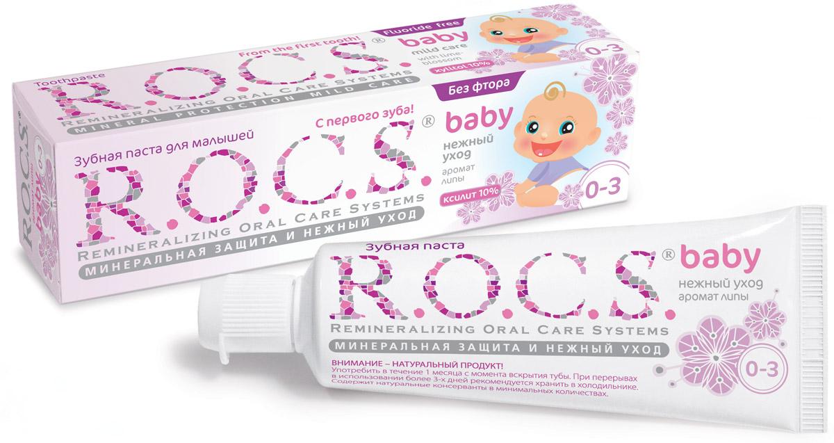 R.O.C.S. Зубная паста для малышей Аромат липы от 0 до 3 лет 45 г03-01-009Безопасная при проглатывании формула и любимый вкус сладкой каши сделают эту зубную пасту незаменимым помощником в уходе за зубами вашего малыша! Зубная паста R.O.C.S. Baby Аромат липы предназначена для ухода за зубами малышей, начиная с самого раннего возраста. Формула практически полностью построена на биокомпонентах растительного происхождения, активность которых сохраняется благодаря низкотемпературной технологии приготовления продукта, что делает их максимально эффективными, а также безопасными при проглатывании. Благодаря высокой концентрации ксилита обеспечивает высокую степень защиты от кариеса, а также обладает свойствами пребиотика, нормализуя состав микрофлоры полости рта. Экстракт липы помогает снизить воспаление десен и уменьшить дискомфорт во время прорезывания зубов.Приготовлена на очень мягкой основе, которая, с одной стороны, обеспечивает качественную очистку зубов, а с другой стороны, не травмирует незрелую эмаль молочных зубов. Обладает приятным сладковатым вкусом, который очень нравится детям и мотивирует их на регулярную чистку зубов, что очень важно для формирования постоянного навыка у детей. Гипоаллергенна. Безопасна при проглатывании: не содержит фтора, отдушек, красителей, лаурилсульфата натрия и парабенов. Натуральный продукт! Употребить в течение 1 месяца с момента вскрытия тубы. Рекомендуется хранить в холодильнике при перерывах в использовании более 3-х дней. Подтверждено лабораторными и клиническими исследованиями.Товар сертифицирован.