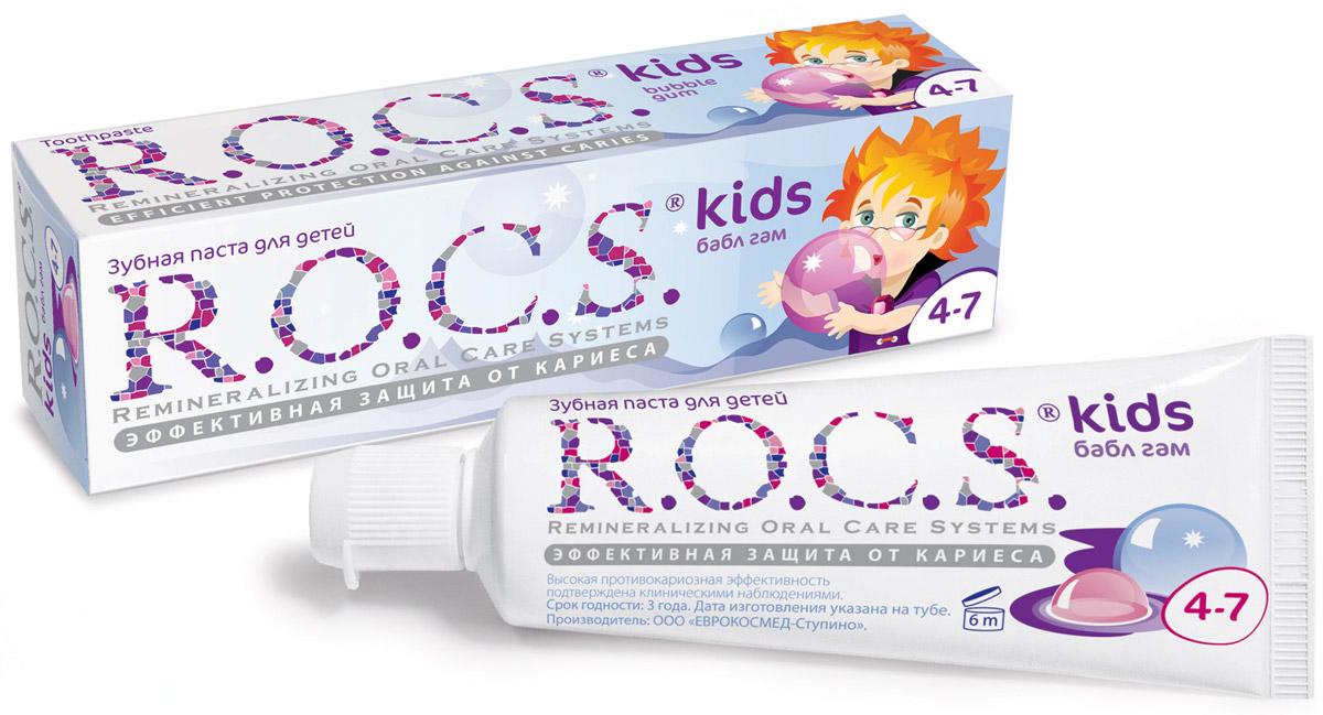 R.O.C.S. Зубная паста Бабл гам от 4 до 7 лет 45 г03-01-021Эффективная зубная паста R.O.C.S. Kids Бабл гам со вкусом жевательной резинки для детей от 4 до 7 лет разработана при участии стоматологов с учетом возрастных особенностей ребенка. Содержит комплекс AMIFLUOR, содержащий аминофторид Olafluor 500 ppm и высокую концентрацию ксилита, благодаря чему обеспечивается устойчивость зубов к растворяющему действию кислот*, надежная защита десен от воспаления, защита зубов от кариесогенных бактерий и нормализация микробного состава полости рта.Низкоабразивная формула не травмирует ткани зубов (RDA=45). Не содержит лаурилсульфата натрия. По эффективности не уступает зубным пастам с антисептиком и пастам с концентрацией фторида 1000 ppm. Паста протестирована в двухлетней школьной программе профилактики кариеса.Для чистки зубов рекомендуется использовать небольшое количество пасты размером с горошину. Дети дошкольного возраста должны чистить зубы под контролем взрослых.Аминофторид является наиболее эффективным источником фтора, так как обеспечивает быстрое (всего за 20 секунд) формирование высокостабильного защитного слоя на поверхности зубов, что обеспечивает профилактику потери эмалью зубов кальция и фосфора и способствует интенсивному насыщению зубов минералами. Свойство пасты быстро образовать защитный слой очень важно, так как многие дети не выдерживают рекомендованное время чистки зубов (3 минуты). Подтверждено лабораторными и клиническими исследованиями.Товар сертифицирован.