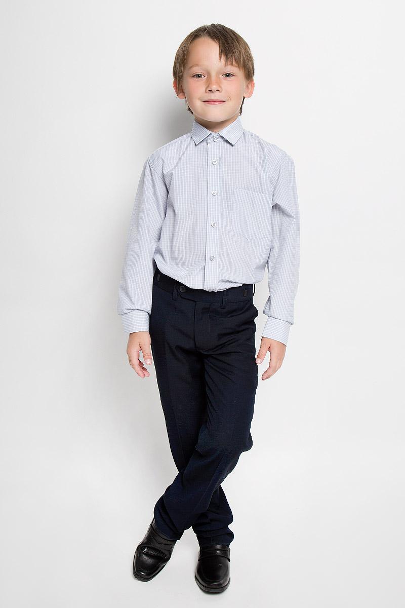 Рубашка для мальчика Imperator, цвет: серый. Graf 33/37. Размер 34/146-152Graf 33/37Рубашка для мальчика Imperator выполнена из хлопка с добавлением полиэстера. Она отлично сочетается как с джинсами, так и с классическими брюками. Материал изделия мягкий и приятный на ощупь, не сковывает движения и обладает высокими дышащими свойствами.Рубашка прямого кроя с длинными рукавами и отложным воротником застегивается на пуговицы по всей длине. Манжеты рукавов также имеют застежки-пуговицы. На груди расположен накладной карман. Оформлена модель принтом в клетку.Современный дизайн и высокое качество исполнения принесут удовольствие от покупки и подарят отличное настроение!