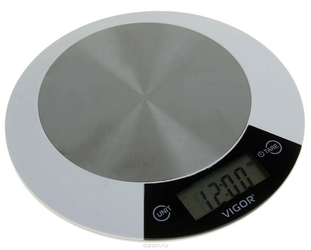Vigor HX-8205 весы кухонныеHX-8205_белыйКухонные электронные весы Vigor HX-8205 со встроенными часами и функцией индикации температуры - незаменимые помощники современной хозяйки. Они помогут точно взвесить любые продукты и ингредиенты. Кроме того, позволят людям, соблюдающим диету, контролировать количество съедаемой пищи и размеры порций. Предназначены для взвешивания продуктов с точностью измерения до 1 грамма.