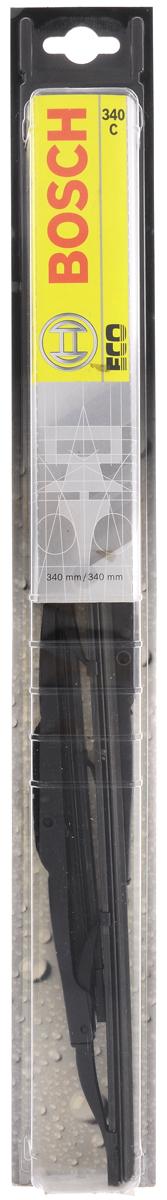 Щетка стеклоочистителя Bosch 340C, каркасная, длина 34 см, 2 шт3397005025Универсальная щетка Bosch 340C - функциональныйстеклоочиститель с металлическими скобами, которыйхарактеризуется хорошей эффективностью очистки икачеством. Каркас щетки выполнен из металла сантикоррозийным покрытием и имеет форму,способствующую уменьшению подъемной силы навысоких скоростях. Натуральная резина щетки обеспечивает тщательностьочистки. Щетка имеет крепление крючок. Быстрыймонтаж, благодаря предварительно установленномууниверсальному адаптеру Quick Clip. В комплекте 2 щетки.