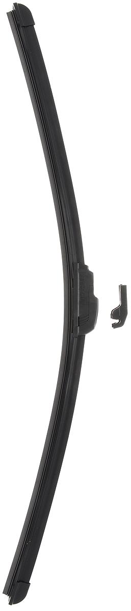 Щетка стеклоочистителя Wonderful, бескаркасная, с тефлоном, с 2 адаптерами, длина 57,5 см, 1 шт901880Бескаркасная универсальная щетка Wonderful, выполненная по современной технологии из высококачественных материалов, предназначена для установки на переднее стекло автомобиля. Направляющая шина, расположенная внутри чистящего полотна, равномерно распределяет прижимное усилие по всей длине, точно повторяя рельеф щетки, что обеспечивает наиболее полное очищение стекла за один проход. Отличается высоким качеством исполнения и оптимально подходит для замены оригинальных щеток, установленных на конвейере. Обеспечивает качественную очистку стекла в любую погоду. Изделие оснащено 2 адаптерами, которые превосходно подходят для наиболее распространенных типов креплений. Простой и быстрый монтаж.