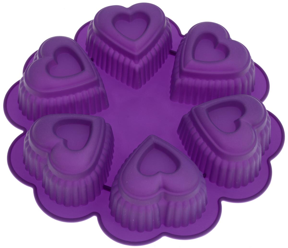 Форма для выпечки Marmiton Сердце, цвет: фиолетовый, 25,5 х 25,5 х 5 см, 6 ячеек16027Форма для выпечки Marmiton Сердце выполнена из силикона. На одном листе расположены 6 ячеек в виде сердец. Благодаря тому, что форма изготовлена из силикона, готовый лед, выпечку или мармелад вынимать легко и просто.Материал устойчив к фруктовым кислотам, может быть использован в духовках и микроволновых печах (выдерживает температуру от -40°С до +230°С). Можно мыть и сушить в посудомоечной машине.Общий размер формы: 25,5 х 25,5 х 5 см.Размер ячейки: 8 х 8 х 5 см.