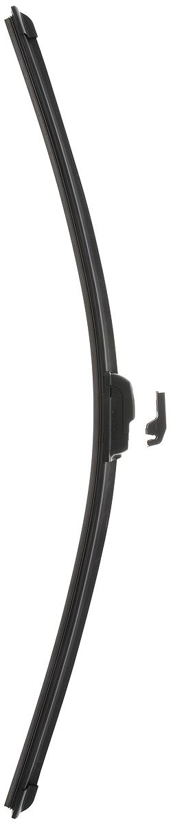 Щетка стеклоочистителя Wonderful, бескаркасная, с тефлоном, с 2 адаптерами, длина 65 см, 1 шт901876Бескаркасная универсальная щетка Wonderful, выполненная по современной технологии из высококачественных материалов, предназначена для установки на переднее стекло автомобиля. Направляющая шина, расположенная внутри чистящего полотна, равномерно распределяет прижимное усилие по всей длине, точно повторяя рельеф щетки, что обеспечивает наиболее полное очищение стекла за один проход. Отличается высоким качеством исполнения и оптимально подходит для замены оригинальных щеток, установленных на конвейере. Обеспечивает качественную очистку стекла в любую погоду. Изделие оснащено 2 адаптерами, которые превосходно подходят для наиболее распространенных типов креплений. Простой и быстрый монтаж.