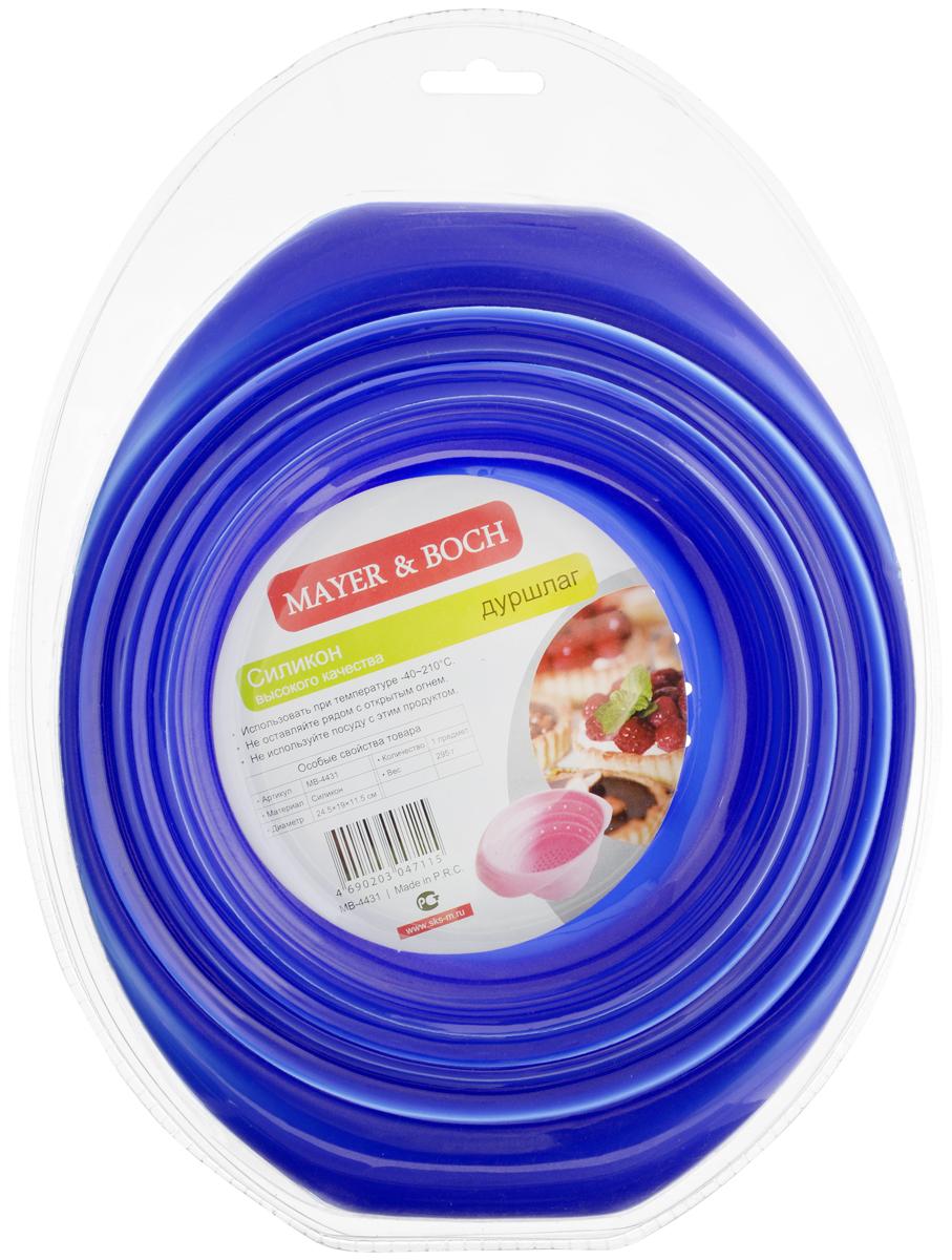 Дуршлаг складной Mayer & Boch, цвет: синий, диаметр 23 см4431-2Силиконовый складной дуршлаг Mayer & Bochудобен и компактен в хранении. Благодаряуникальной конструкции, в сложенном видедуршлаг занимает мало места и легко помещается влюбой ящик или полку.Выдерживает температуру до +210°С, имеетэргономичные ручки, не впитывает запахи и легкомоется впосудомоечной машине. Ширина (с учетом ручек): 23 см.Диаметр: 19 см. Максимальная высота: 11,5 см. Минимальная высота: 3 см.