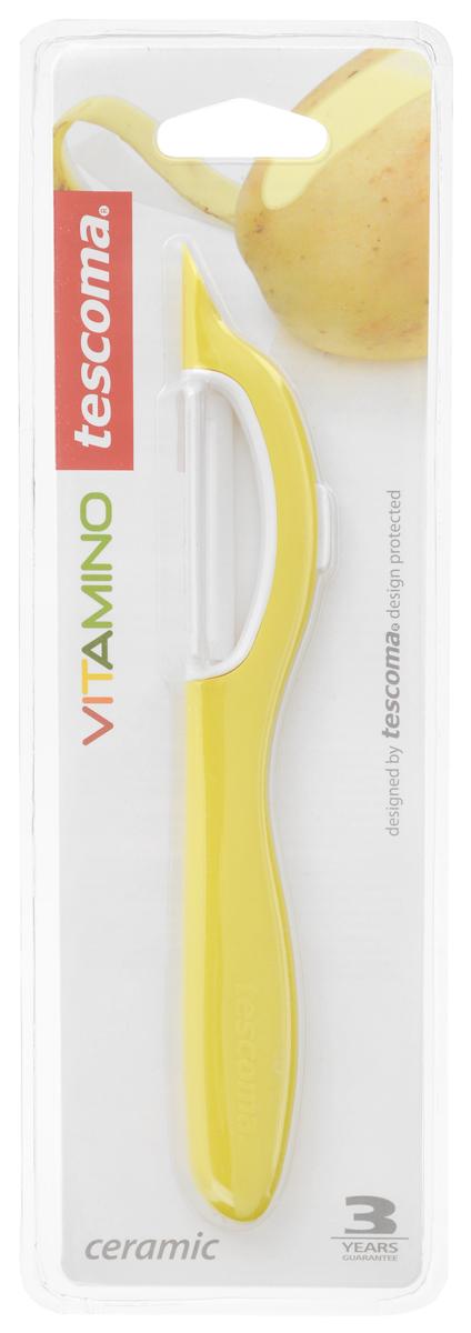 Овощечистка Tescoma Vitamino, с продольным керамическим лезвием, цвет: желтый, длина 19 см642710_желтыйОвощечистка с продольным лезвием Tescoma Vitamino изготовлена из прочного пластика, лезвие - из высококачественной керамики. Отлично подходит для быстрой и легкой очистки моркови и других овощей. Также можно использовать для нарезки тонкими ломтиками моркови, сельдерея, редиса.Можно мыть в посудомоечной машине.