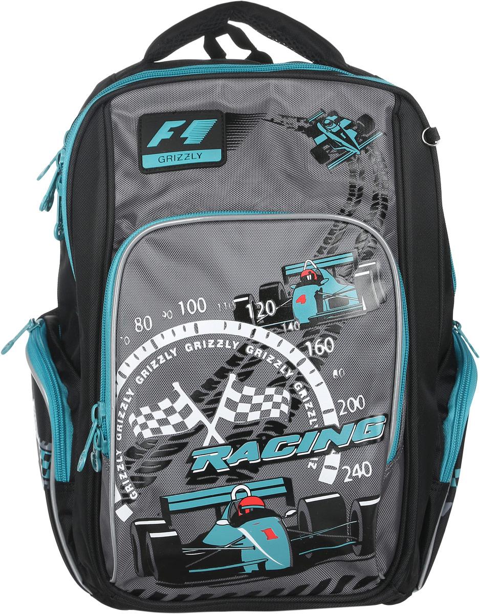 Grizzly Рюкзак детский Racing цвет черный бирюзовыйRB-630-1/2Детский рюкзак Grizzly Racing сочетает в себе современный дизайн, функциональность и долговечность. Рюкзак выполнен из плотного материала и оформлен оригинальным изображением.Рюкзак имеет два основных отделения на застежках-молниях с двумя бегунками. Отделения никаких карманов не содержат.На лицевой стороне рюкзака располагается накладной карман на молнии, внутри которого находится открытый карман-сетка.По бокам рюкзака расположены два кармана на застежках-молниях. Рюкзак оснащен петлей для подвешивания и удобной текстильной ручкой для переноски в руке.Широкие регулируемые лямки и сетчатые мягкие вставки на спинке рюкзака предохранят мышцы спины ребенка от перенапряжения при длительном ношении. Светоотражающие вставки существенно повышают безопасность ребенка на дороге.Этот рюкзак можно использовать для повседневных прогулок, учебы, отдыха и спорта, а также как элемент вашего имиджа.Рекомендуемый возраст: от 11 лет.