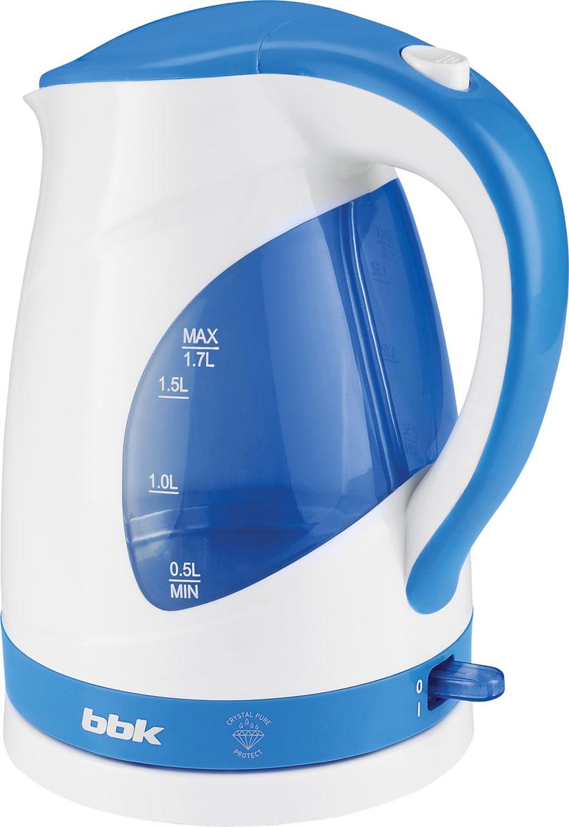 BBK EK1700P, White Blue электрический чайникEK1700P бел/голСовременный электрический чайник BBK EK1700P из термостойкого экологически чистого пластика, сочетающий в себе многофункциональность и дизайн, станет украшением вашей кухни. Чайник оснащен многоуровневой защитой и технологией Crystal Pure Protect - это улучшенная защита от накипи и усовершенствованная очистка воды. Прибор установлен на удобную подставку с возможностью поворота на 360 градусов и с отделением для хранения шнура. Помимо этого, отличительной особенностью является удобный носик для наливания и шкала уровня воды. Съемный фильтр от накипи и скрытый нагревательный элемент с покрытием из нержавеющей стали гарантированно обеспечат надежность, долговечность и максимально комфортное ежедневное использование.