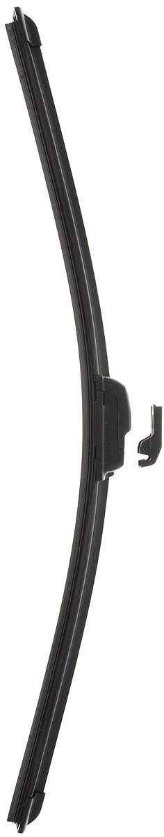 Щетка стеклоочистителя Wonderful, бескаркасная, с тефлоном, с 2 адаптерами, длина 55 см, 1 шт901891Бескаркасная универсальная щетка Wonderful, выполненная по современной технологии из высококачественных материалов, предназначена для установки на переднее стекло автомобиля. Направляющая шина, расположенная внутри чистящего полотна, равномерно распределяет прижимное усилие по всей длине, точно повторяя рельеф щетки, что обеспечивает наиболее полное очищение стекла за один проход. Отличается высоким качеством исполнения и оптимально подходит для замены оригинальных щеток, установленных на конвейере. Обеспечивает качественную очистку стекла в любую погоду. Изделие оснащено 2 адаптерами, которые превосходно подходят для наиболее распространенных типов креплений. Простой и быстрый монтаж.