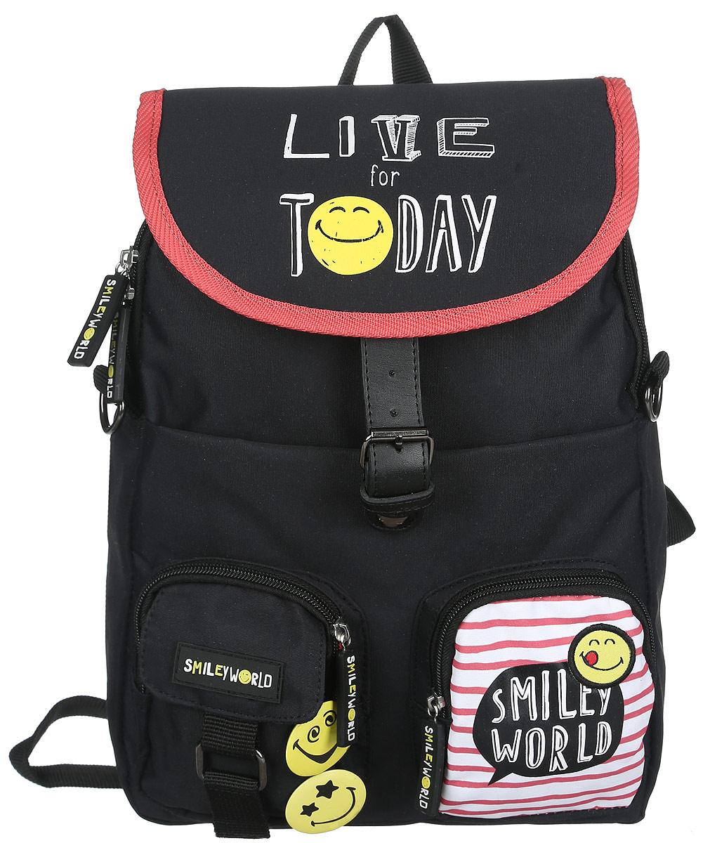 Proff Рюкзак детский Live for TodaySG16-BP-15-01Детский рюкзак Proff Live for Today - это красивый и удобный рюкзак, который подойдет всем, кто хочет разнообразить свои школьные будни. Внешние поверхности рюкзака, подкладка выполнены из полиэстера, уплотнители - из поролона, элементы отделки - из пластика, металла, ПВХ. На лицевой стороне рюкзак декорирован двумя значками в виде смайликов.Рюкзак имеет одно основное отделение, закрывающееся на молнию, а сверху клапаном на магнитную защелку. Внутри отделения нет карманов. На лицевой стороне расположены три кармана, два из которых на молниях, один на застежке-липучке. Под клапаном на лицевой стороне находится вместительный карман на молнии, внутри которого располагаются четыре кармашка под мобильный телефон и канцелярские принадлежности, лента с карабином для ключей.Рюкзак оснащен текстильной ручкой для переноски в руке и подвешивания. Лямки рюкзака можно регулировать по длине.Многофункциональный детский рюкзак станет незаменимым спутником вашего ребенка.