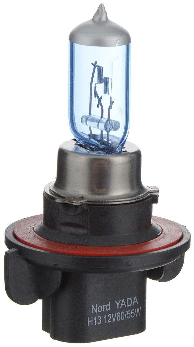 Лампа автомобильная галогенная Nord YADA Super White, цоколь H13, 12V, 60/55W900115Лампа автомобильная галогенная Nord YADA Super White - это электрическая галогенная лампа с вольфрамовой нитью для автомобилей и других моторных транспортных средств. Виброустойчива, надежна, имеет долгий срок службы. Галогенные лампы предназначены для использования в фарах ближнего, дальнего и противотуманного света. Лампа имеет голубое напыление на колбе, что дает более белый лунный свет. Данная характеристика помогает лучше освещать дорогу для водителей и делает автомобиль более заметным на трассах.