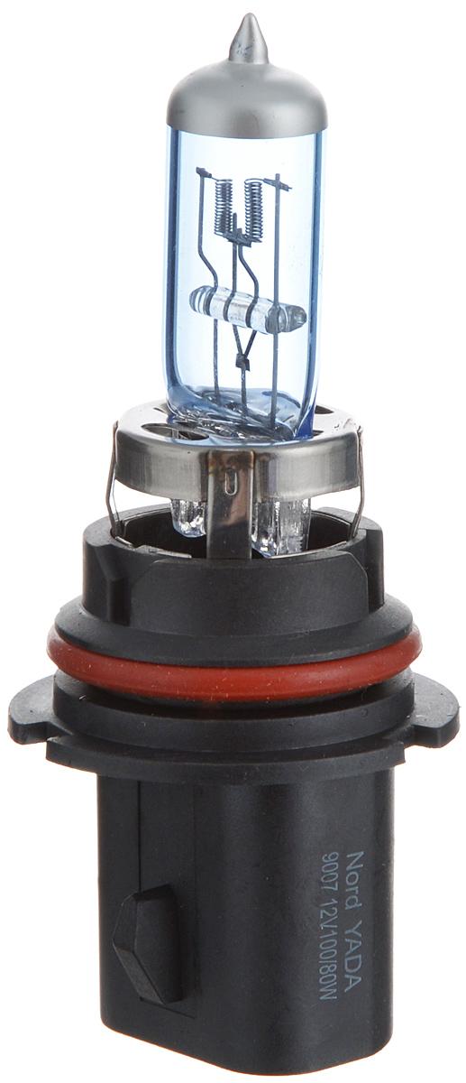 Лампа автомобильная галогенная Nord YADA Super White, цоколь HB5 (9007), 12V, 100/80W800084Лампа автомобильная галогенная Nord YADA Super White - это электрическая галогенная лампа с вольфрамовой нитью для автомобилей и других моторных транспортных средств. Виброустойчива, надежна, имеет долгий срок службы. Галогенные лампы предназначены для использования в фарах ближнего, дальнего и противотуманного света. Лампа имеет голубое напыление на колбе, что дает более белый лунный свет. Данная характеристика помогает лучше освещать дорогу для водителей и делает автомобиль более заметным на трассах.