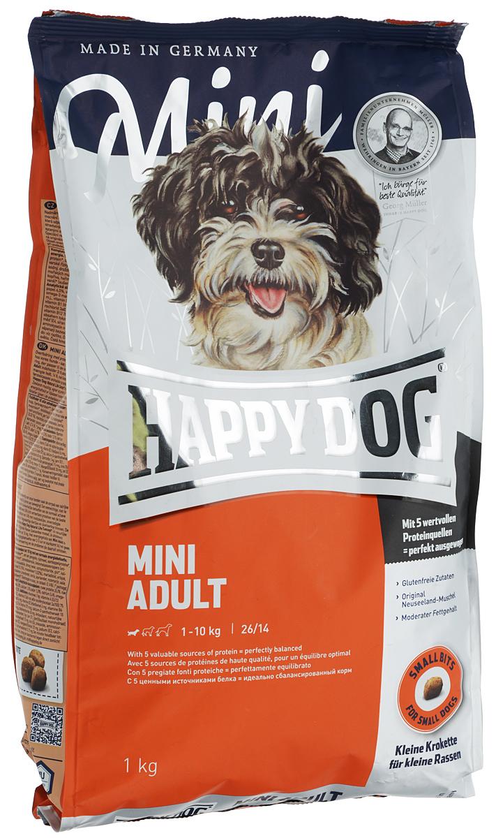 Корм сухой Happy Dog Mini Adult для взрослых собак маленьких пород, 1 кг сухой корм happy dog supreme sensible adult 11kg neuseeland lamb
