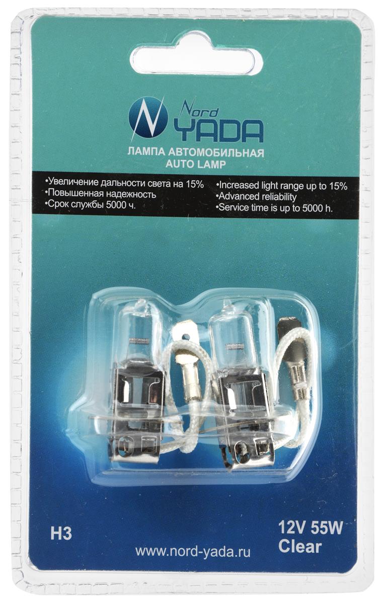 Лампа автомобильная галогенная Nord Yada Clear, цоколь H3, 12V, 55W, 2 шт. 902229902229Автомобильные галогенные лампы Nord Yada Clear - источники света, у которых светящим элементом является вольфрамовая спираль. У ламп есть большой запас срока службы. Способны выдержать большое количество включений и выключений. Питание: 12 В.Номинальная мощность: 55 Вт.В комплекте 2 лампы.