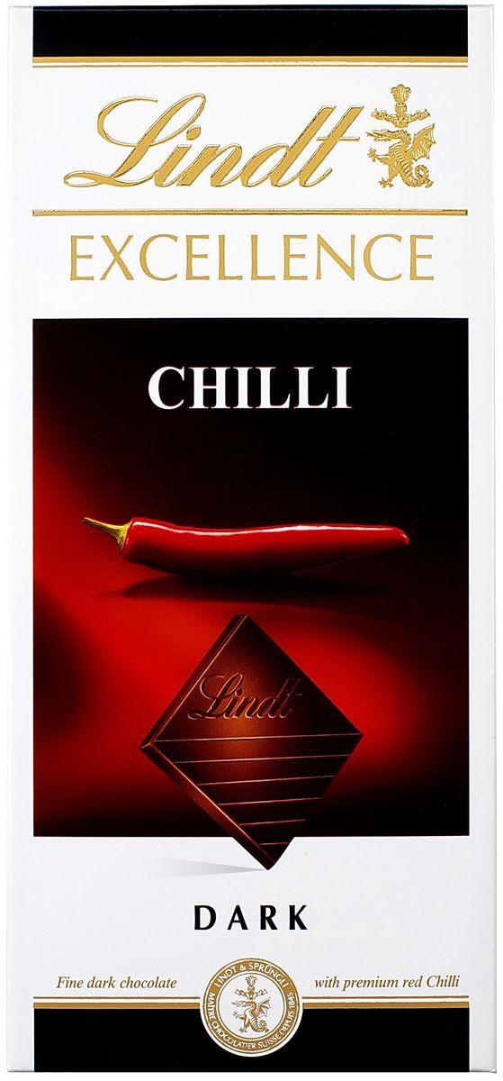 Lindt Excellence темный шоколад с экстрактом перца чили, 100 г lindt шоколад темный lindt excellence с лаймом 100г