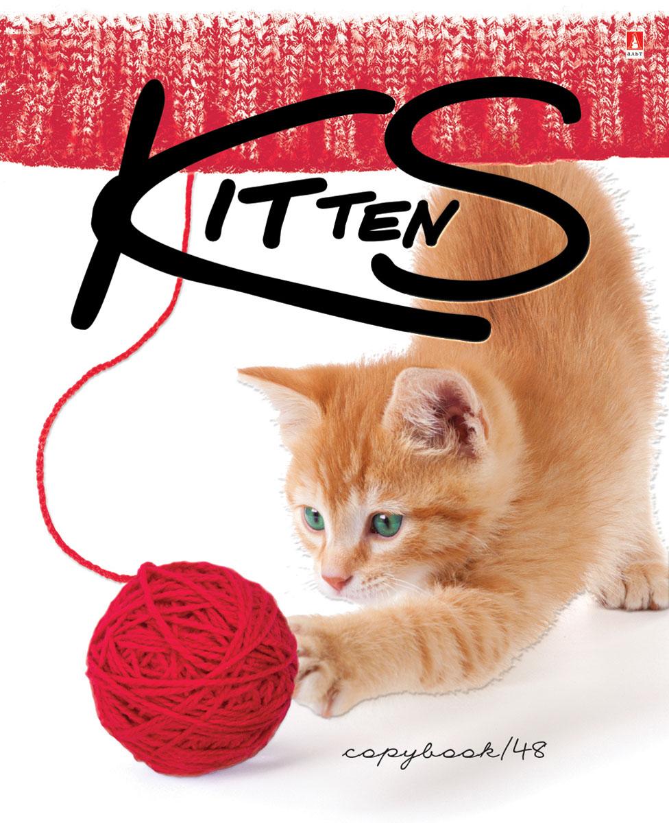 Альт Тетрадь Котенок и клубок 48 листов в клетку цвет красный о мозалева игривый котенок книжка игрушка