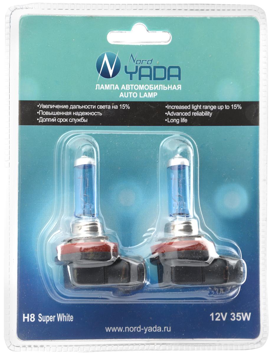 Лампа галогеновая Nord Yada H8, 12V, 35W, 2 шт902555Галогеновые лампы Nord Yada H8 - источники света, у которых светящим элементом является вольфрамовая спираль. У ламп есть большой запас срока службы. Способны выдержать большое количество включений и выключений. Питание: 12 В.Номинальная мощность: 35 Вт.В комплекте 2 лампы.
