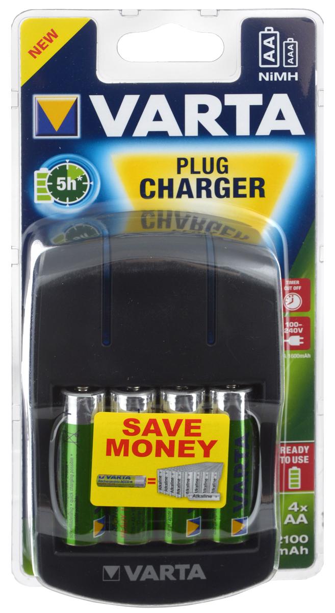 Зарядное устройство VARTA Plug Charger, с батарейками40044VARTA Plug Charger - зарядное устройство сэргономичным дизайном, которым легко и безопасно пользоваться. Для индикации заряда аккумуляторовприсутствуют два светодиода. Устройство заряжает аккумуляторы типоразмеров AA и AAA. Такжеприсутствуют функции безопасности: контроль по скачку напряжения, таймер безопасности - защита отперезаряда, защита от короткого замыкания.Время зарядки: 5 часов Встроенная сетевая вилка Зарядный ток: ААА: 150 (± 10%) мA, АА 350 (±10%) мA Автоматический выбор напряжения в сети В комплект входят четыре аккумулятора АА2100мАч