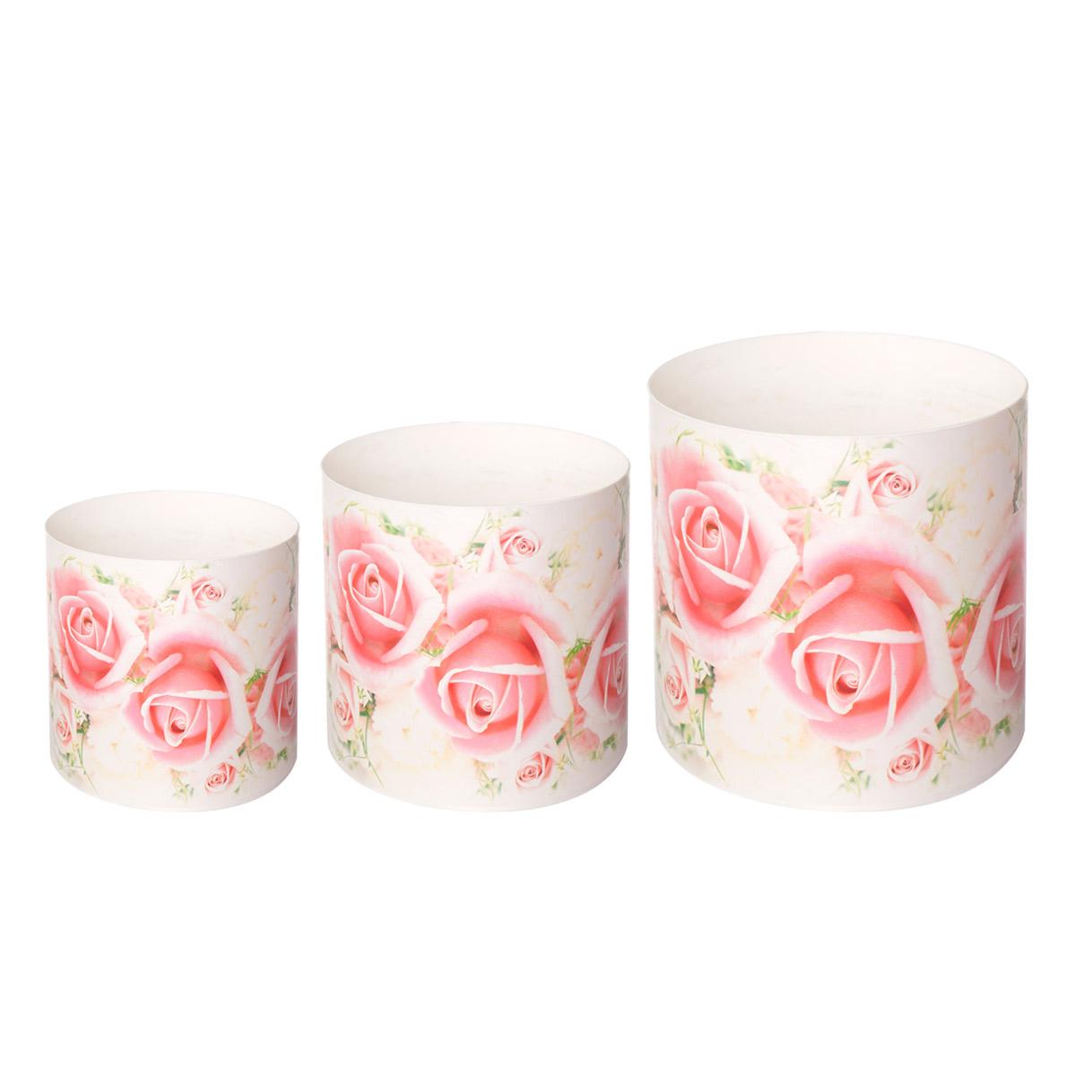 Набор горшков для цветов Miolla Розы, со скрытым поддоном, 3 предмета набор горшков тюльпан 3 пр no name набор горшков тюльпан 3 пр