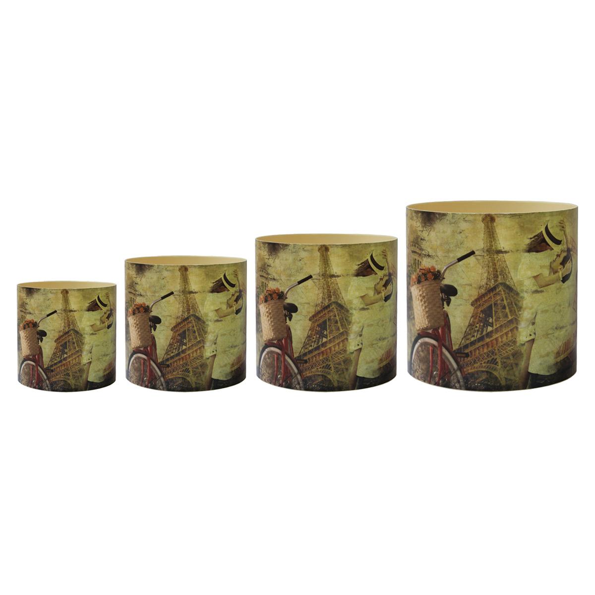 Набор горшков для цветов Miolla Париж со скрытым поддоном, 4 предметаSMG-SET14-1Набор горшочков Miolla c 3D рисунком. Хорошо будут смотреться как основа для топиариев и флористических композиций. А так же замечательно для комнатных цветов. Со скрытым поддоном.