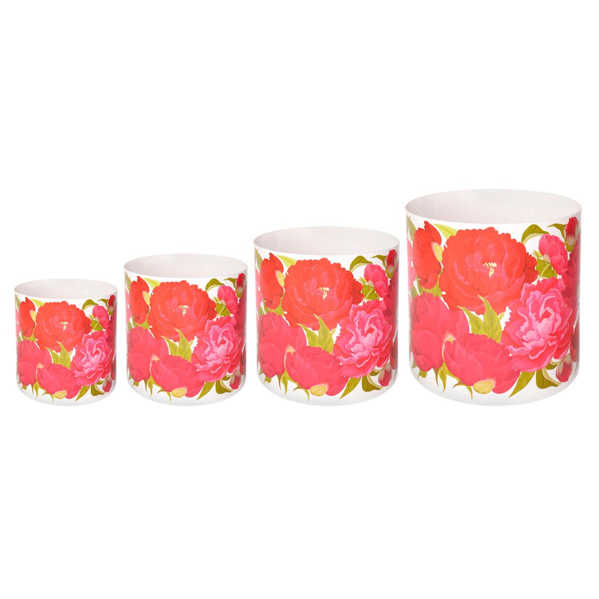 Набор горшков для цветов Miolla Пионы, со скрытым поддоном, 4 предметаSMG-SET9Набор Miolla Пионы состоит из 4 горшков со скрытыми поддонами. Горшкивыполнены из пластика и декорированы цветочным рисунком. Изделия предназначены для цветов. Изделия оснащены специальными скрытыми поддонами.Диаметр горшков: 20,5 см, 16,5 см, 13,5 см, 11,5 см.Высота горшков (с учетом поддона): 19 см, 16 см, 13,5 см, 11,5 см.Объем горшков: 1 л, 1,7 л, 2,8 л, 5,1 л.