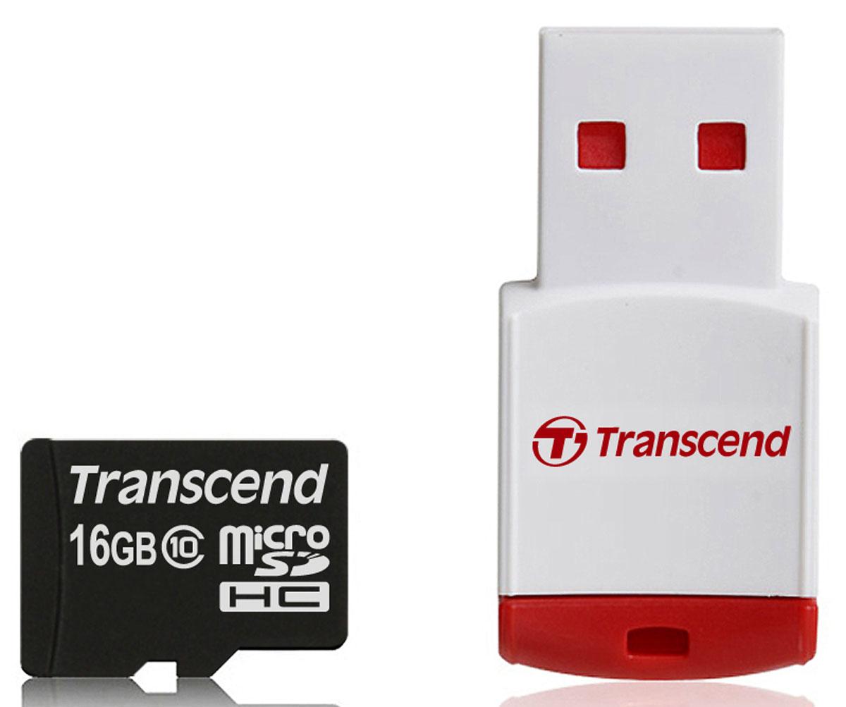 Transcend microSDHC Class 10 16GB карта памяти + P3 картридер