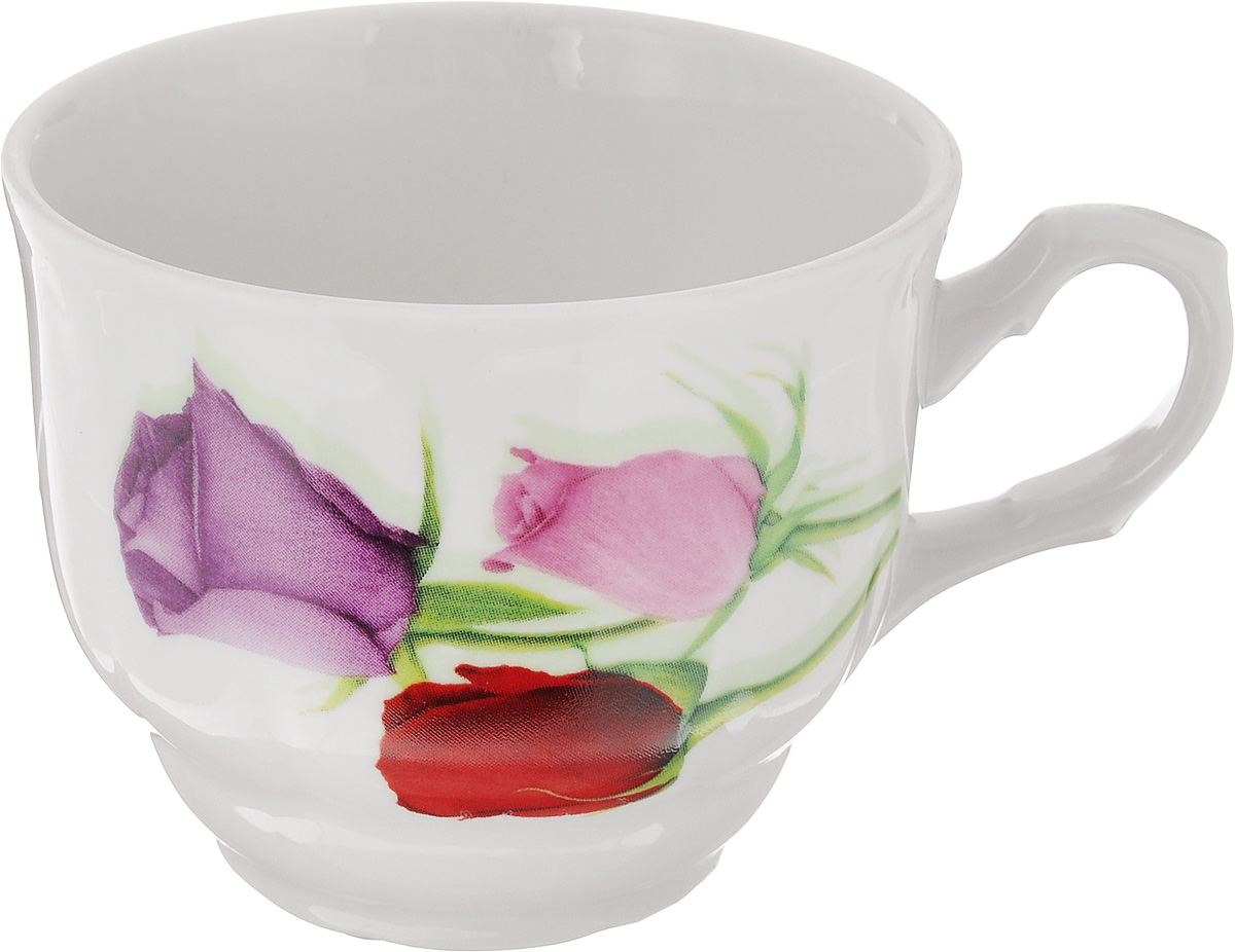 Чашка чайная Тюльпан. Королева цветов, 250 мл3С0534Чайная чашка Тюльпан. Королева цветов выполнена из высококачественного фарфора. Изделие украшено изображениями цветков роз. Нежнейший дизайн и белоснежность изделия дарят ощущение легкости и безмятежности. Диаметр чашки (по верхнему краю): 8,5 см. Высота чашки: 7 см. Объем: 250 мл.