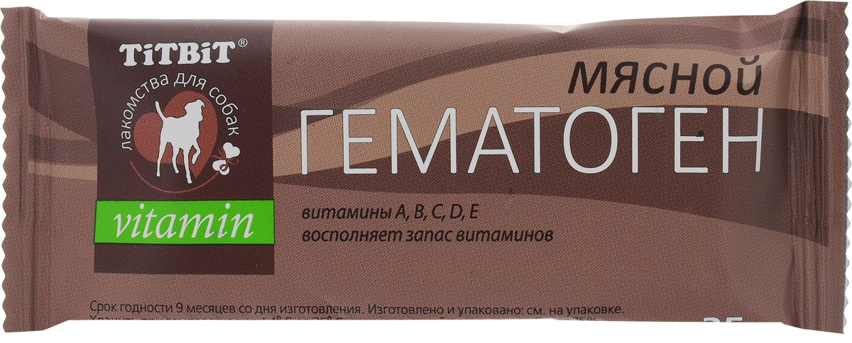 Лакомство для собак Titbit Vitamin, гематоген мясной, 35 г лакомство для собак titbit гематоген мясной classic 16шт