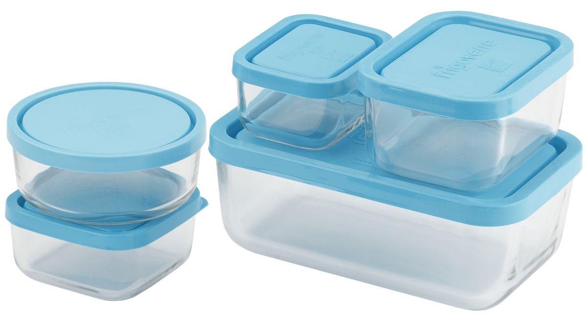 """Набор контейнеров Bormioli Rocco """"Frigoverre"""" из 5-и стеклянных контейнеров с синей крышкой (10х7, 10х10, 10х13, 13х21, d-12 см). Из холодильника сразу в микроволновую печь! Выдерживают температурный удар от – 20С до +70С. Безопасны для хранения готовых продуктов. Не содержат Бисфенол А. BPA Free. Закаленное стекло. В 5 раз повышена ударостойкость. Устойчивы к царапинам и сколам.  Удобство использования. Изделия легко моются. Можно использовать в посудомоечной машине. Настоящее итальянское качество!"""