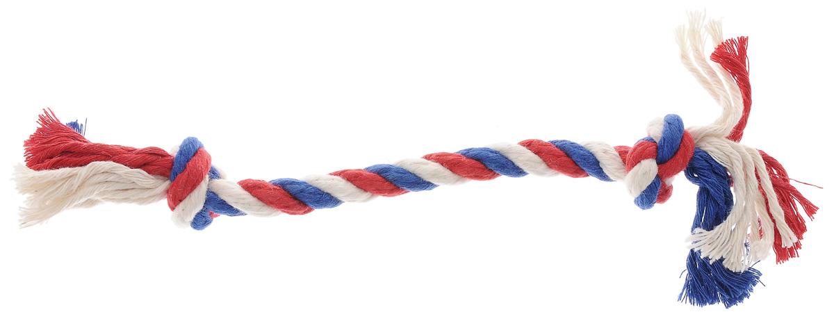 Игрушка для собак Titbit, канат с двумя узлами, длина 23 см6818Игрушка Titbit - это оригинальное изделие из 100% хлопка в виде каната с двумя узлами. Игрушка эффективна для ухода за ротовой полостью. Структура каната способствует очищению зубов, при этом не повреждает десна. Толщина каната: 10 мм. Длина каната: 23 см.
