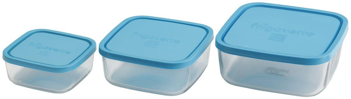 """Набор контейнеров Bormioli Rocco """"Frigoverre"""", квадратные, цвет крышки: синий, 3 предмета"""