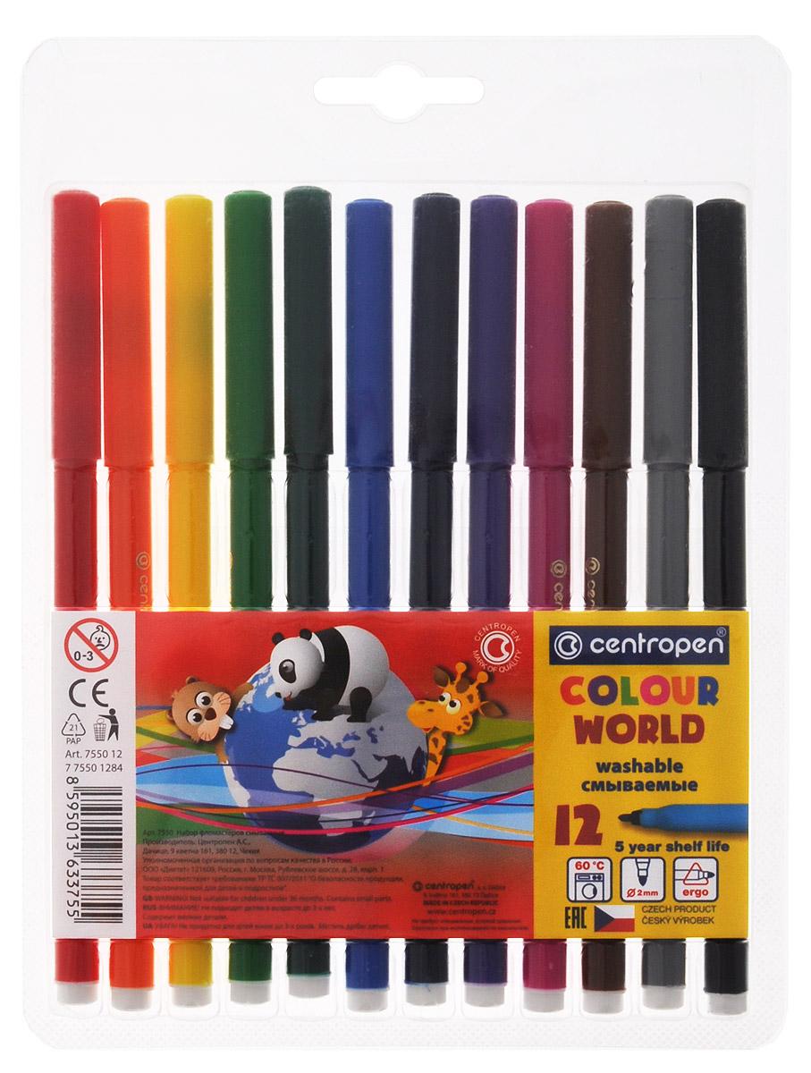 Centropen Набор фломастеров Colour World 12 цветов7550/12 TPЦветные смываемые фломастеры Colour World от Centropen всегда помогут вашему маленькому художнику во всех его творческих начинаниях. Фломастеры оснащены вентилируемым колпачком и имеют эргономичную треугольную зону обхвата. Они предназначены не только для рисования, но и для письма. Фломастеры смываются с рук даже холодной водой и очень легко отстирываются с одежды при температуре +60°С. Корпус каждого фломастера выполнен из полипропилена, а благодаря вентилируемым колпачкам они сохраняют свои свойства, не высыхая, минимум 3 года. Также фломастеры имеют цилиндрический пишущий узел, устойчивый к вдавливанию.Рекомендуемый возраст от 3-х лет.