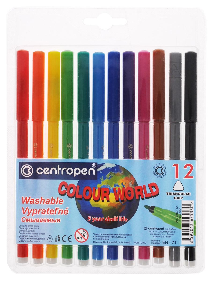 Centropen Набор фломастеров Colour World 12 цветов7550/12Цветные смываемые фломастеры Colour World от Centropen всегда помогут вашему маленькому художнику во всех его творческих начинаниях. Фломастеры оснащены вентилируемым колпачком и имеют эргономичную треугольную зону обхвата. Они предназначены не только для рисования, но и для письма.Фломастеры смываются с рук даже холодной водой и очень легко отстирываются с одежды при температуре +60°С. Корпус каждого фломастера выполнен из полипропилена, а благодаря вентилируемым колпачкам они сохраняют свои свойства, не высыхая, минимум 3 года. Также фломастеры имеют цилиндрический пишущий узел, устойчивый к вдавливанию. Рекомендуемый возраст от 3-х лет.