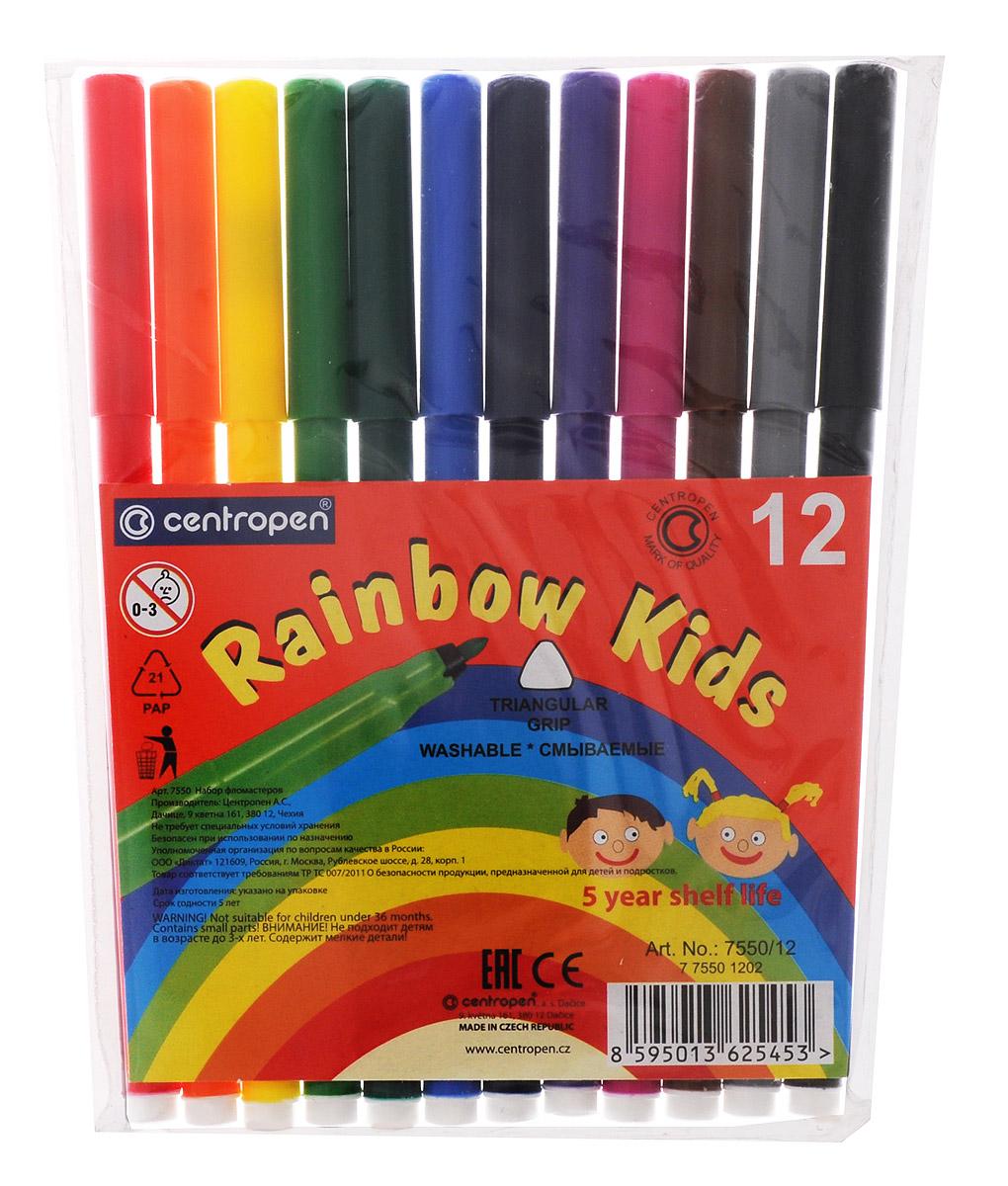 Centropen Набор фломастеров Rainbow Kids 12 цветов7550/12Цветные смываемые фломастеры Rainbow Kids от Centropen всегда помогут вашему маленькому художнику вовсех его творческих начинаниях. Фломастеры оснащены вентилируемым колпачком, поэтому сохраняют своисвойства, не высыхая, минимум 3 года. Эргономичная треугольная зона обхвата корпуса позволяет использоватьих с большим комфортом. Цилиндрический пишущий узел достаточно устойчив к вдавливанию. Фломастеры легкосмываются с рук даже холодной водой и очень легко отстирываются. Набор состоит из 12 разноцветных фломастеров. Рекомендуемый возраст: от 3-х лет.