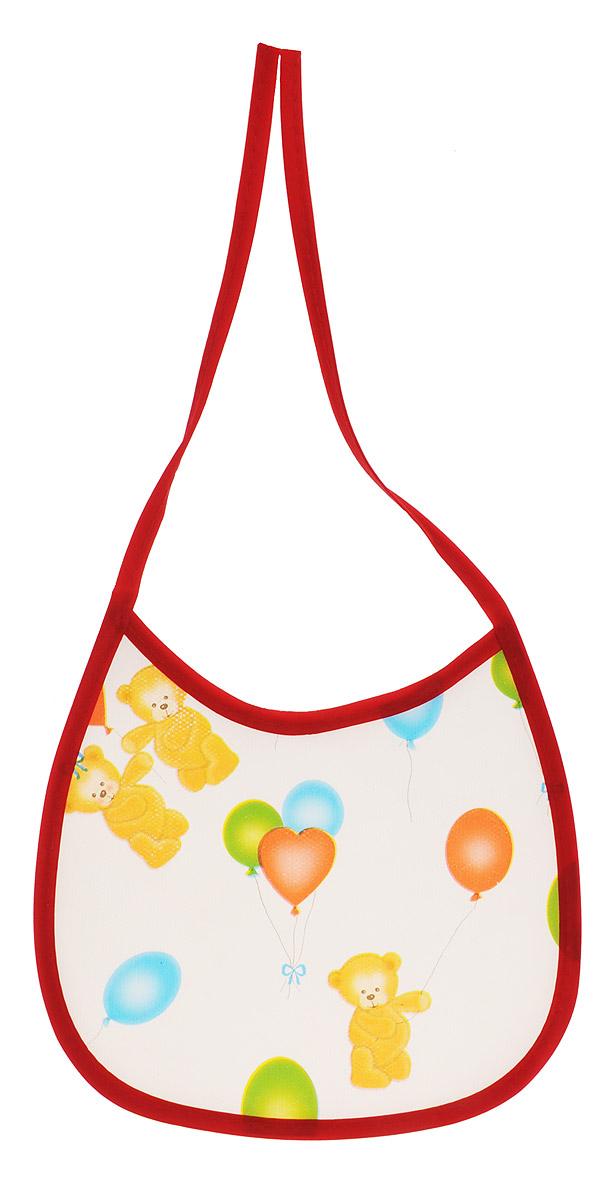 Колорит Нагрудник Мишки с шариками цвет красный белый 17 х 17 см -  Все для детского кормления