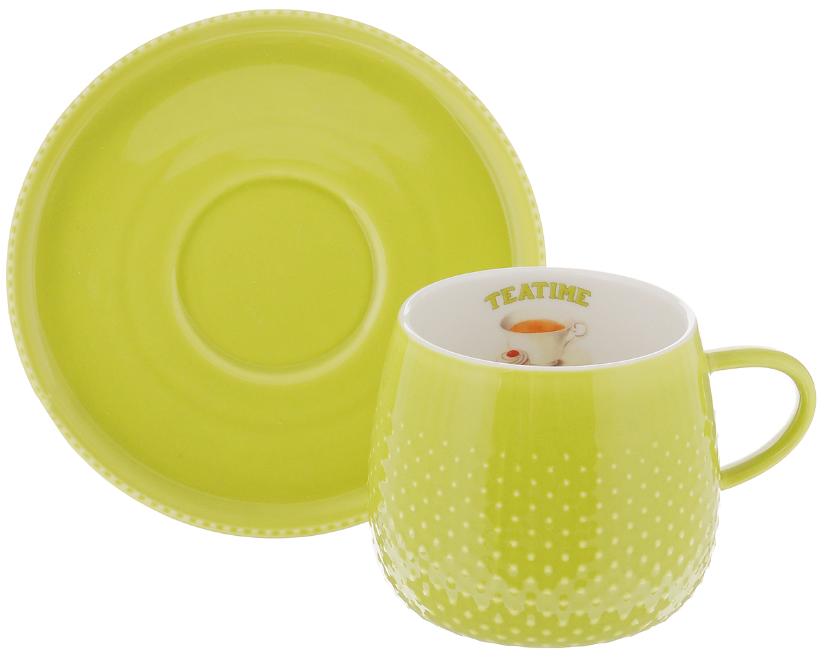 "Чайная пара Nuova R2S ""Капли дождя"", цвет: салатовый, белый, 2 предмета"