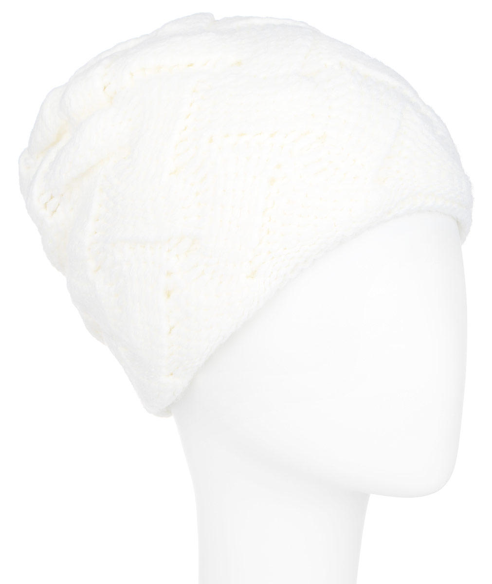 Шапка женская Finn Flare, цвет: молочный. A16-11154_711. Размер 56A16-11154_711Стильная женская шапка Finn Flare дополнит ваш наряд и не позволит вам замерзнуть в холодное время года. Шапка выполнена из высококачественной комбинированной пряжи, что позволяет ей великолепно сохранять тепло и обеспечивает высокую эластичность и удобство посадки. Изделие дополнено теплой подкладкой. Модель с удлиненной макушкой оформлена оригинальным узором и металлической эмблемой с логотипом производителя. Такая шапка станет модным и стильным дополнением вашего гардероба. Она согреет вас и позволит подчеркнуть свою индивидуальность!