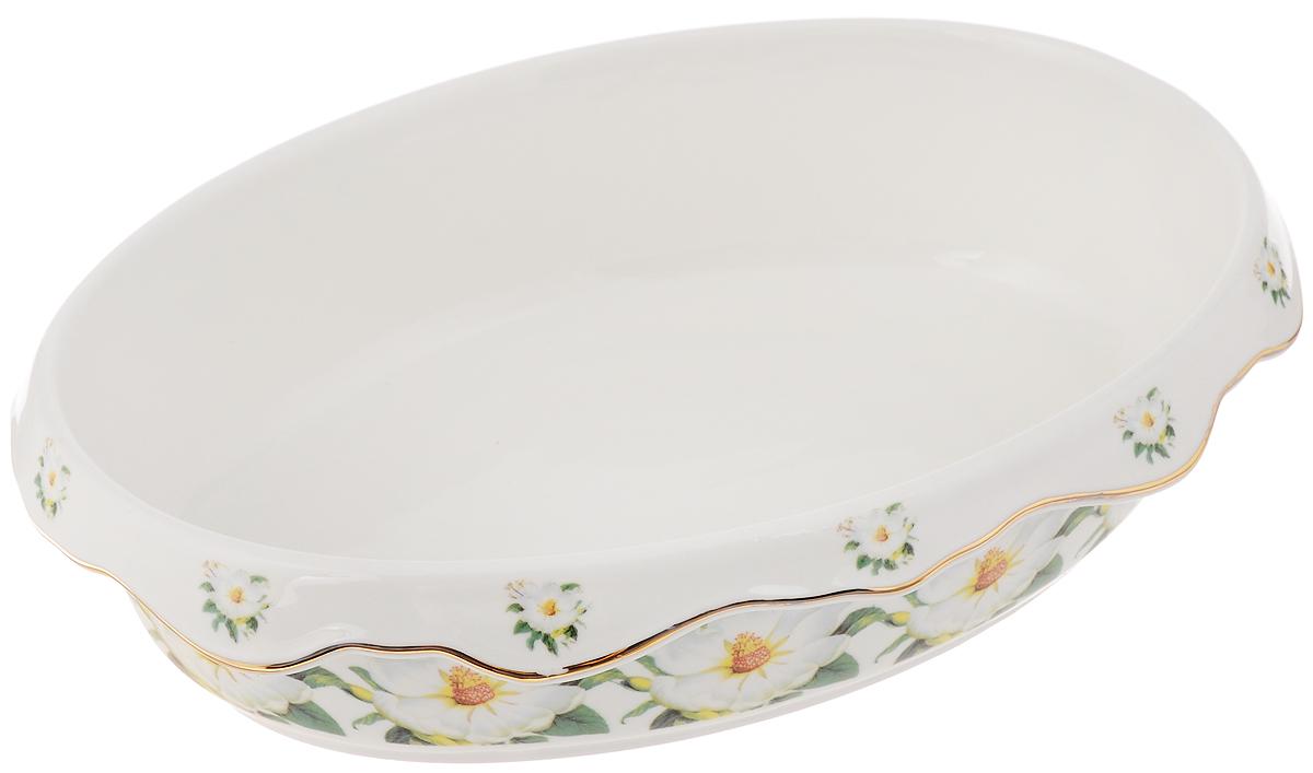 Блюдо Elan Gallery Белый шиповник, 22 х 16 х 6 см503594Блюдо Elan Gallery Белый шиповник, изготовленное из керамики, прекрасно подойдет для заливного, холодца и слоеных салатов. Блюдо оформлено в цветочном дизайне с золотистой каймой. Оно украсит сервировку вашего стола и подчеркнет прекрасный вкус хозяйки. Не использовать в микроволновой печи.Размер блюда (по верхнему краю): 22 х 16 см.Высота стенки: 6 см.