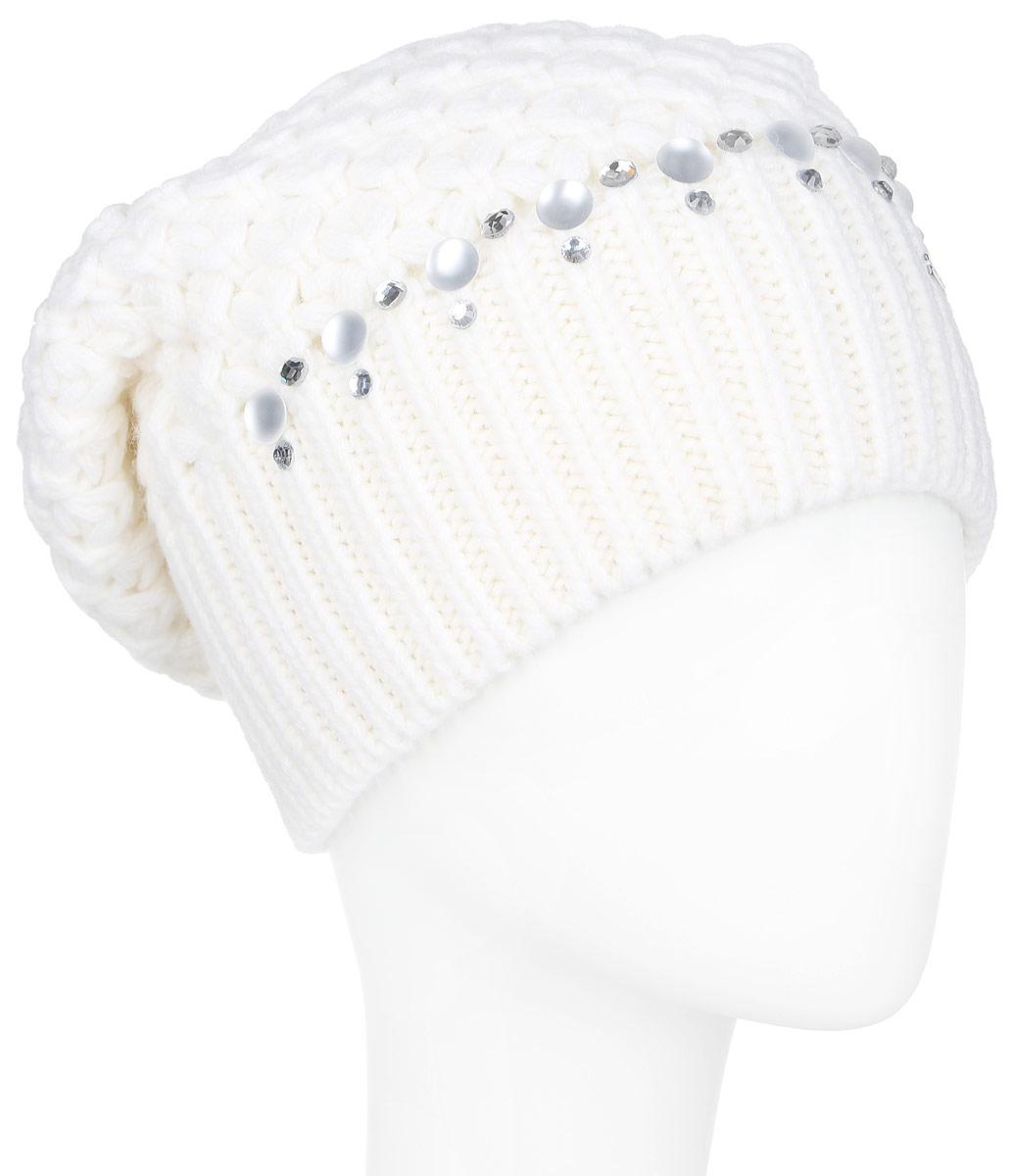 Шапка женская Finn Flare, цвет: белый. A16-11150_201. Размер 56A16-11150_201Стильная женская шапка Finn Flare дополнит ваш наряд и не позволит вам замерзнуть в холодное время года. Шапка выполнена из высококачественной пряжи, что позволяет ей великолепно сохранять тепло и обеспечивает высокую эластичность и удобство посадки.Модель оформлена кристаллами, пластиковыми полубусинами и металлической нашивкой с названием бренда. Такая шапка станет модным и стильным дополнением вашего гардероба. Она согреет вас и позволит подчеркнуть свою индивидуальность!