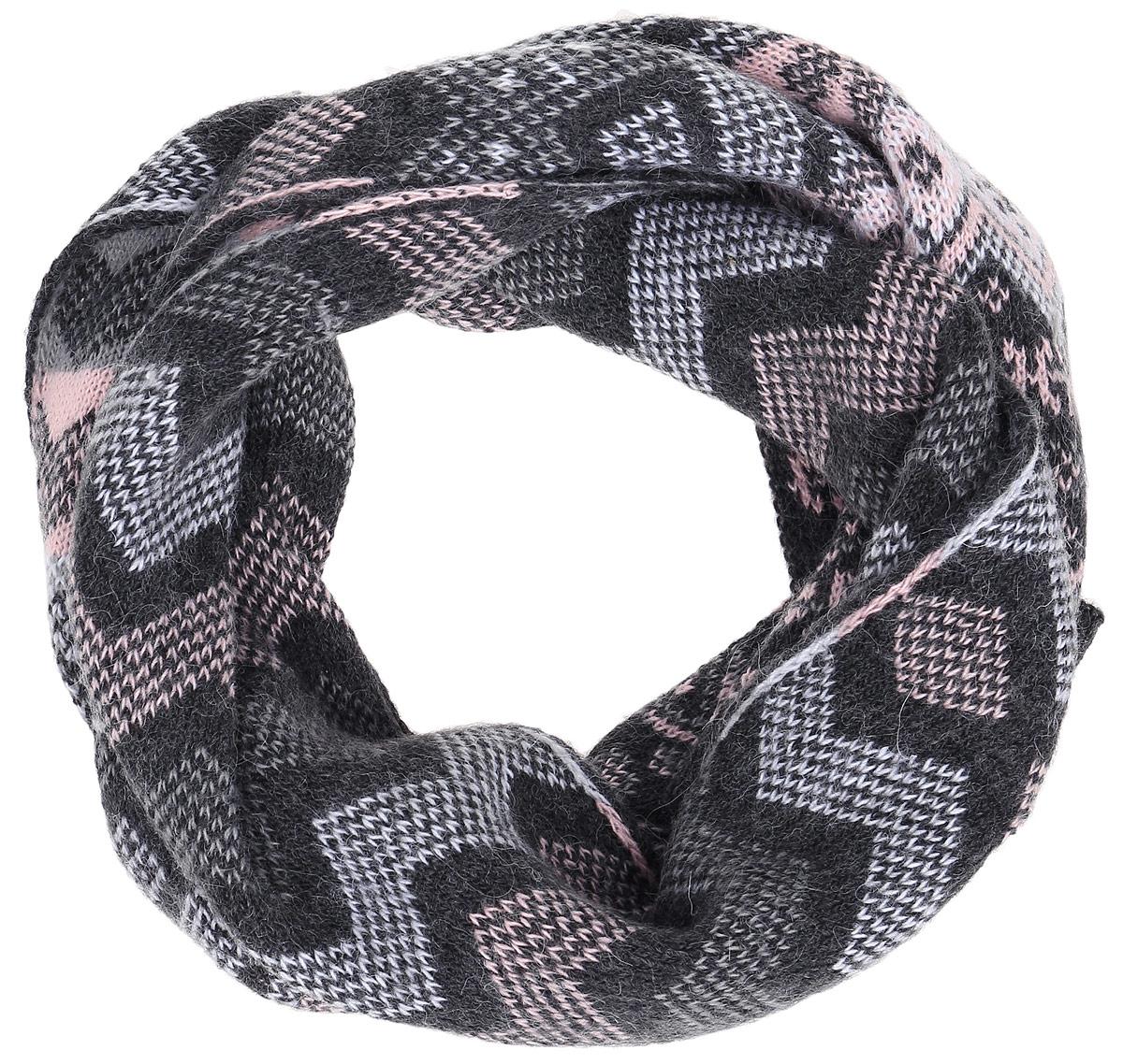 Шарф женский Finn Flare, цвет: темно-серый, серый, розовый. A16-12137_204. Размер 164 см х 22 см