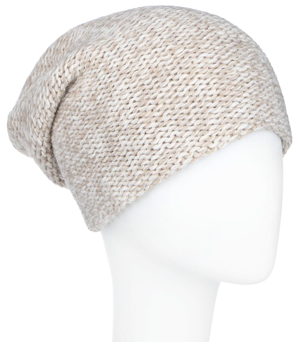 Шапка женская Finn Flare, цвет: белый, бежевый. A16-12134_201. Размер 56A16-12134_201Стильная женская шапка Finn Flare дополнит ваш наряд и не позволит вам замерзнуть в холодное время года. Шапка выполнена из высококачественной комбинированной пряжи, что позволяет ей великолепно сохранять тепло и обеспечивает высокую эластичность и удобство посадки. Модель с удлиненной макушкой оформлена металлической эмблемой с логотипом производителя. Такая шапка станет модным и стильным дополнением вашего гардероба. Она согреет вас и позволит подчеркнуть свою индивидуальность!