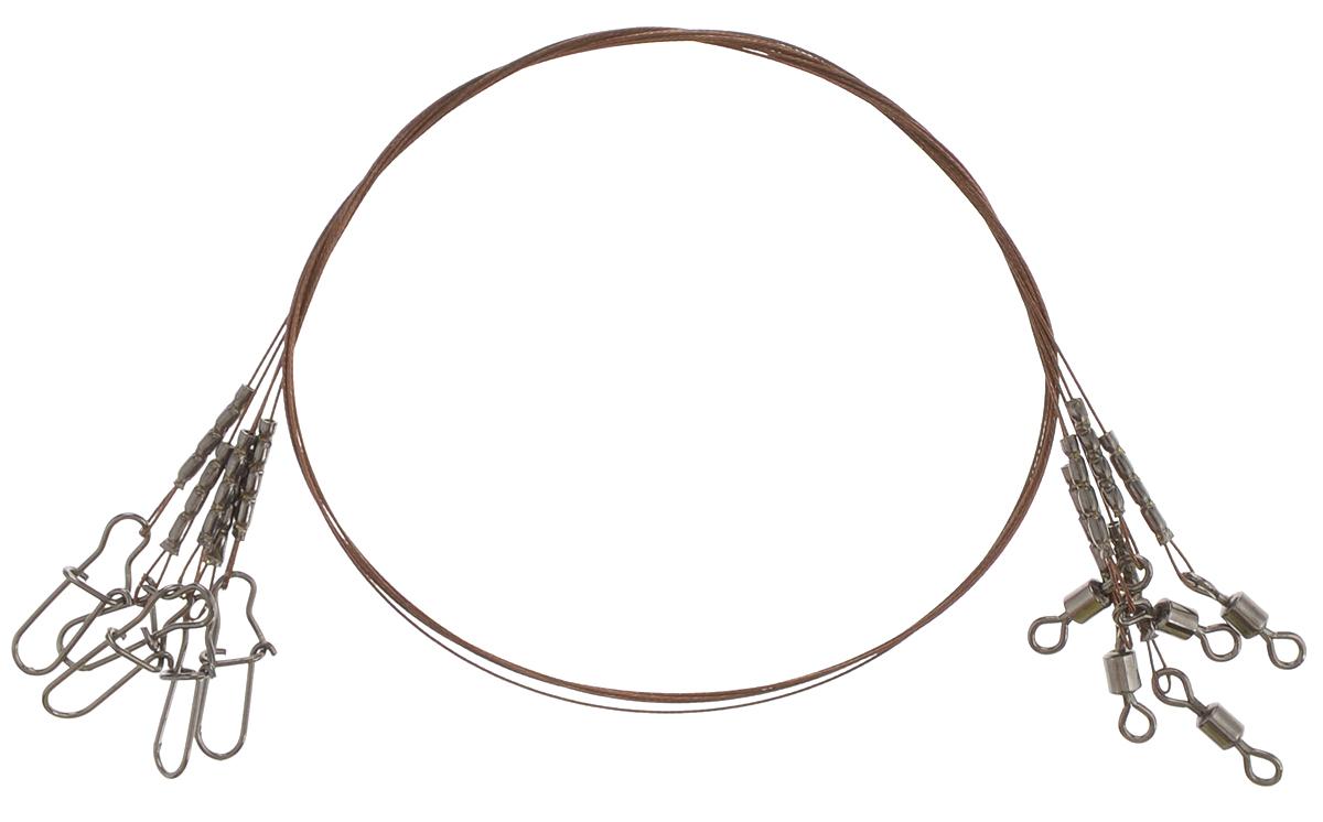 Поводок Win AFW 1х7, тест 9 кг, 25 см, 5 шт56956Поводок Win AFW 1х7 изготовлен из поводкового материала Surfstrand 1х7, фирмы AFW (США). Данный материал имеет маскирующее покрытие Camo, подходящее для большинства водоемов. Поводок очень мягкий и устойчивый к деформации. Не подвержен коррозии, не токсичен.Особенности поводка: - Многократно испытан на прочность; - Высококачественная фурнитура подобрана с достаточным запасом прочности; - Контроль качества на всех этапах производства.