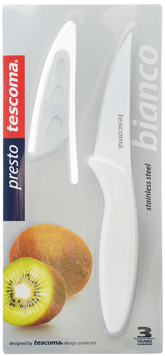 Нож универсальный Tescoma Presto Bianco, с чехлом, длина лезвия 8 см нож универсальный tescoma presto tone с чехлом цвет красный длина лезвия 12 см