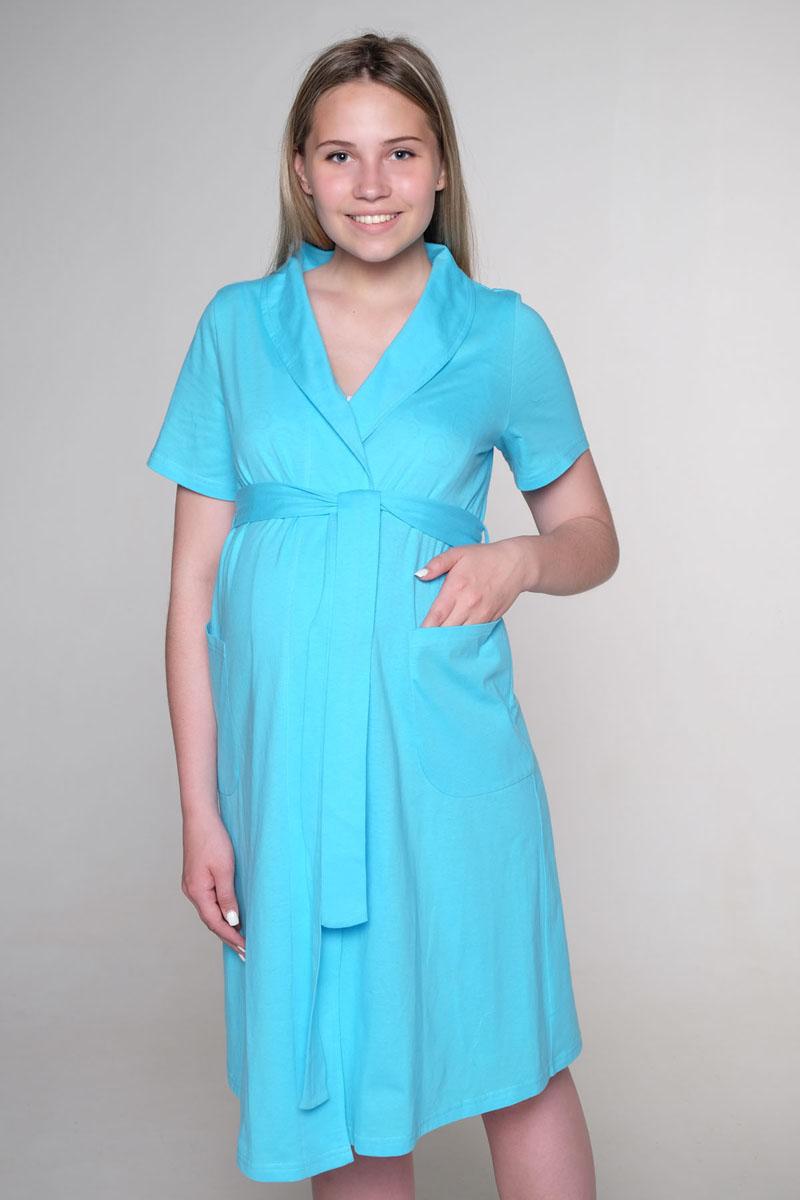 Комплект для беременных и кормящих Hunny Mammy: халат, сорочка ночная, цвет: бирюзовый, белый. К 07020. Размер 46К 07020Удобный, красивый комплект для беременных и кормящих мам Hunny Mammy, изготовленный из натурального хлопка, состоит из халата и сорочки, замечательно подходит для сна и отдыха. Халат на запах с широким поясом, короткими рукавами и воротником-шалькой по бокам дополнен вместительными накладными карманами. Сорочка с завышенной талией на бретелях дополнена клипсами для кормления.Такой комплект сделает отдых будущей мамы комфортным. Одежда, изготовленная из хлопка, приятна к телу, сохраняет тепло в холодное время года и дарит прохладу в теплое, позволяет коже дышать.